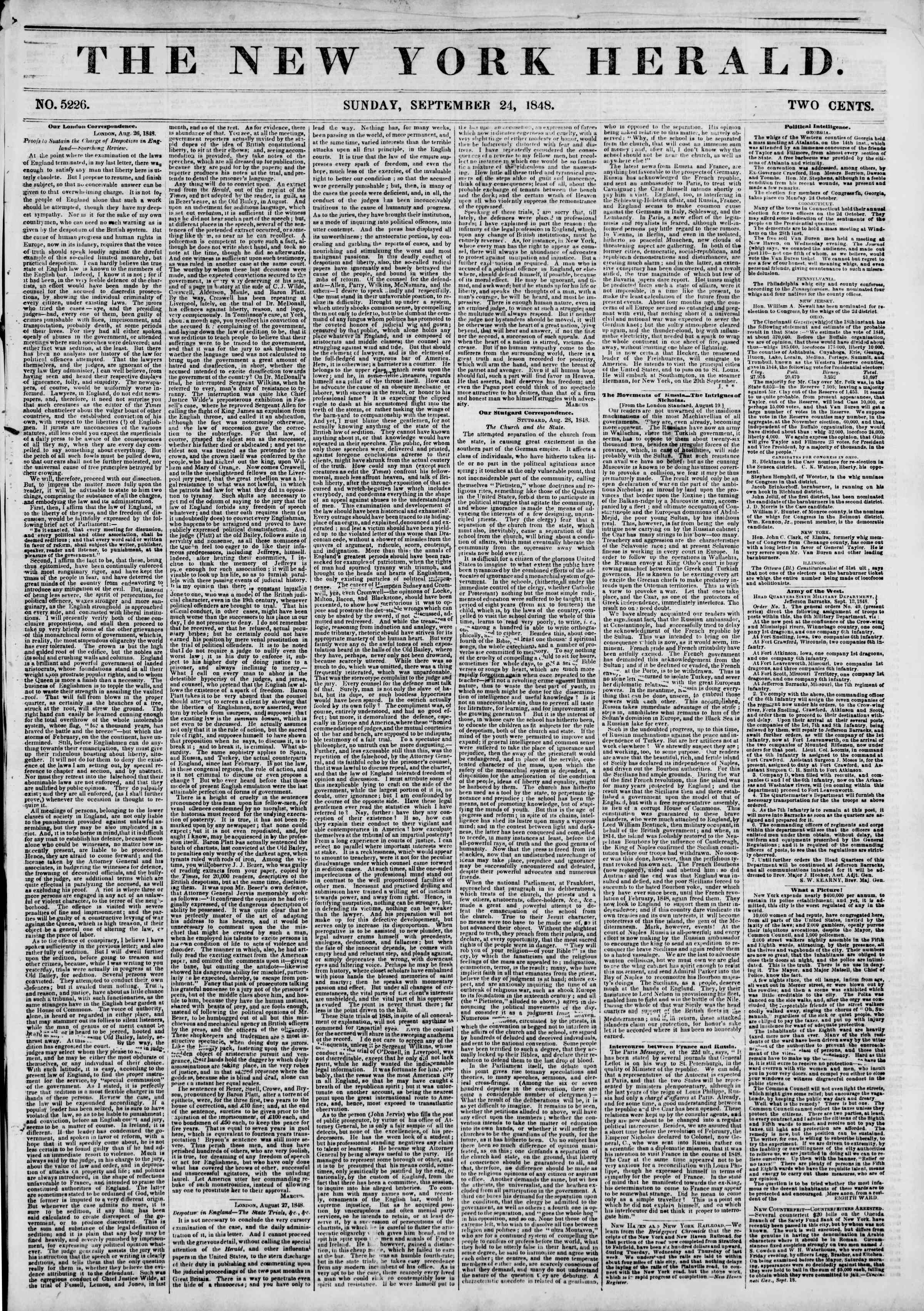 Newspaper of The New York Herald dated September 24, 1848 Page 1