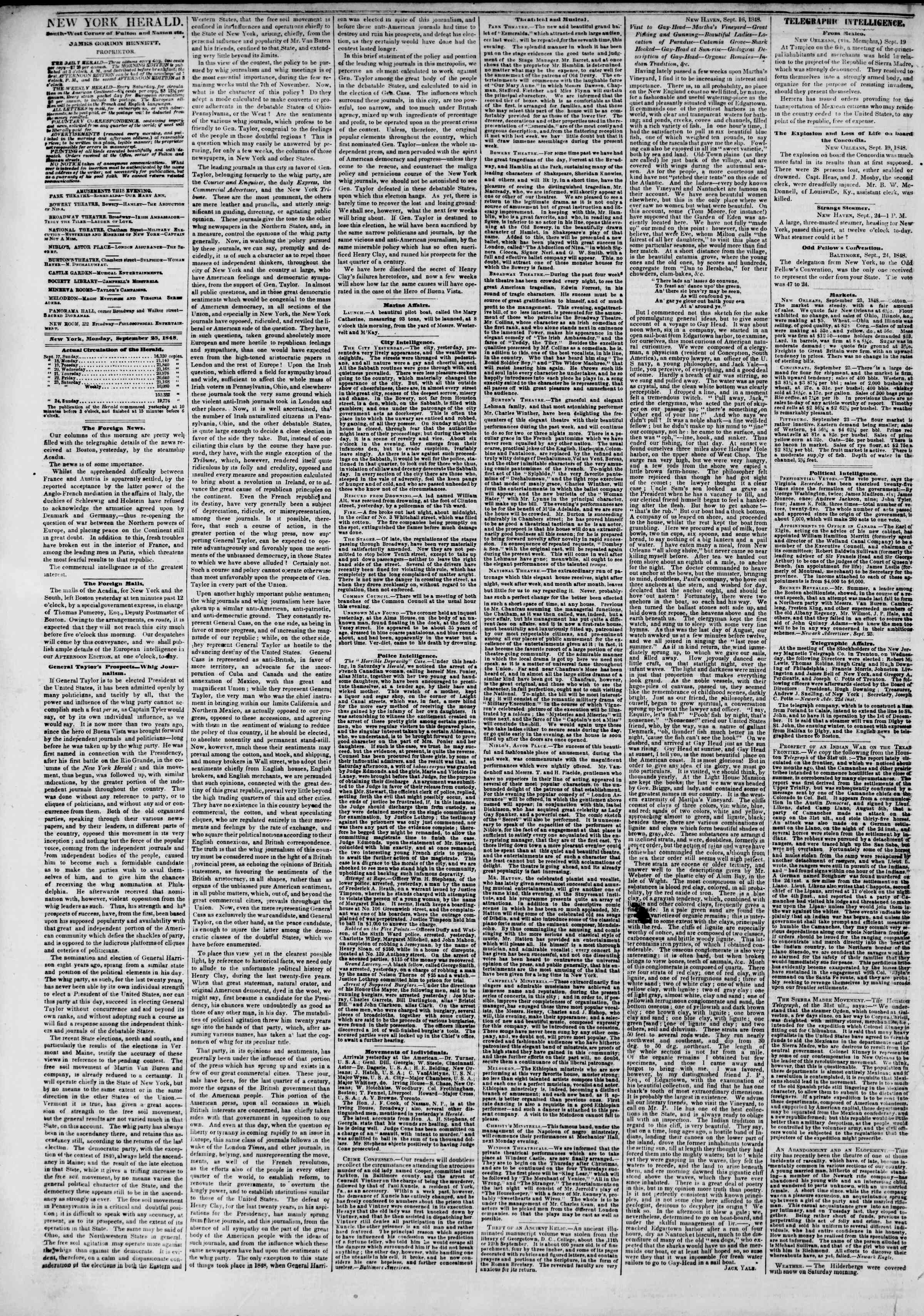 Newspaper of The New York Herald dated September 25, 1848 Page 2