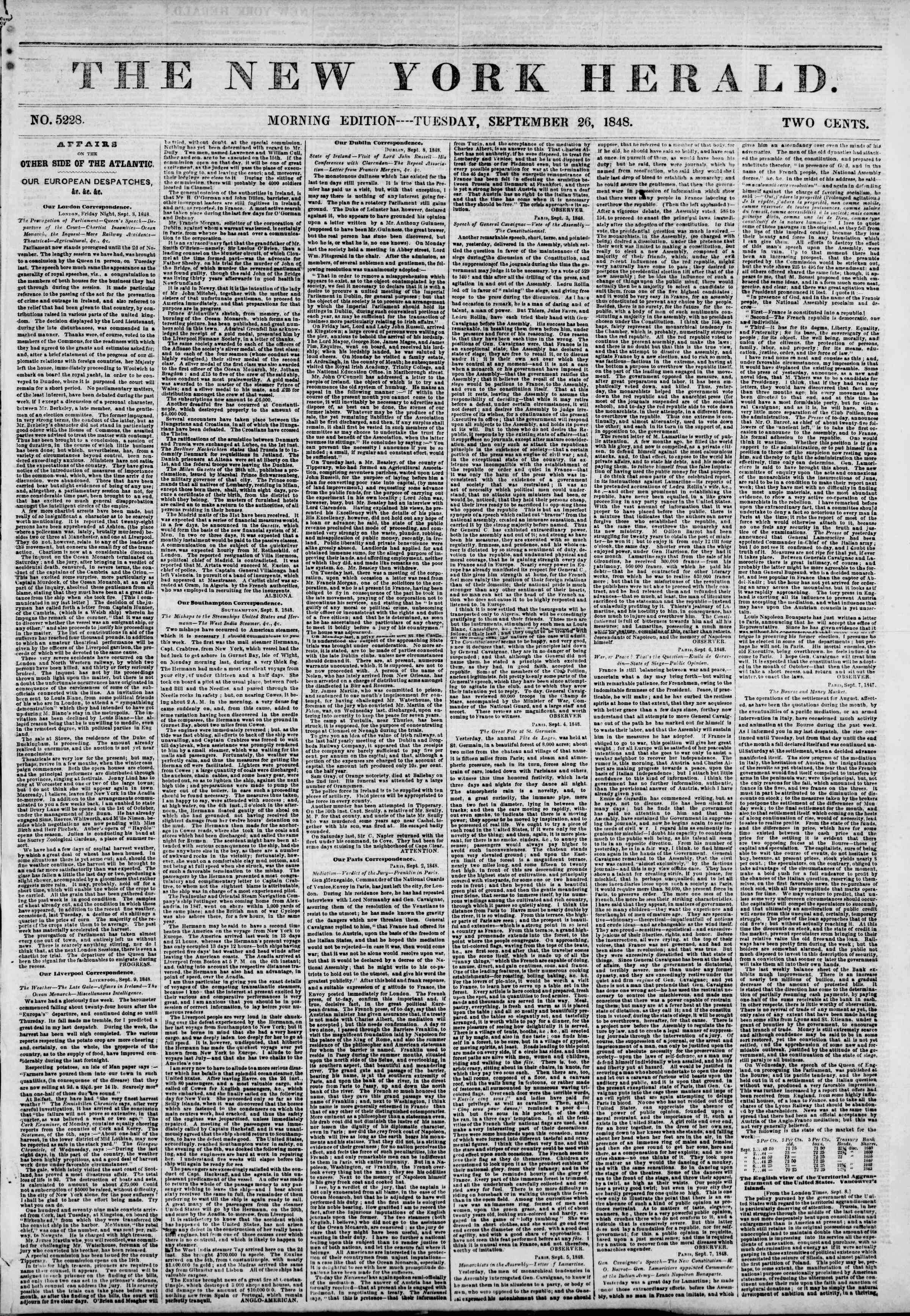 Newspaper of The New York Herald dated September 26, 1848 Page 1