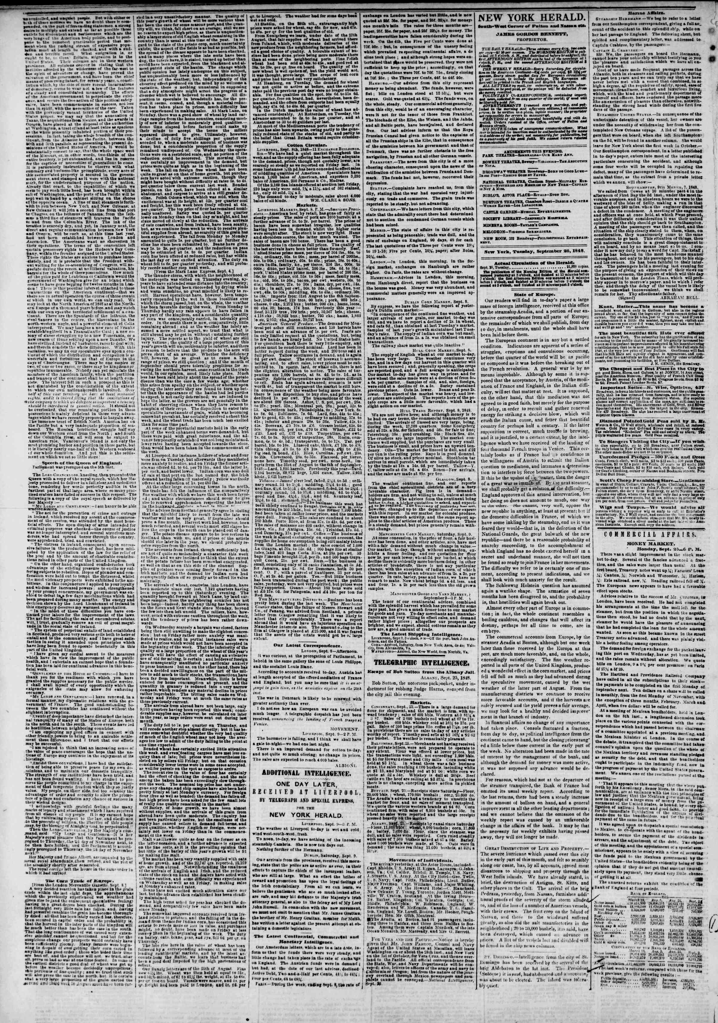 Newspaper of The New York Herald dated September 26, 1848 Page 2