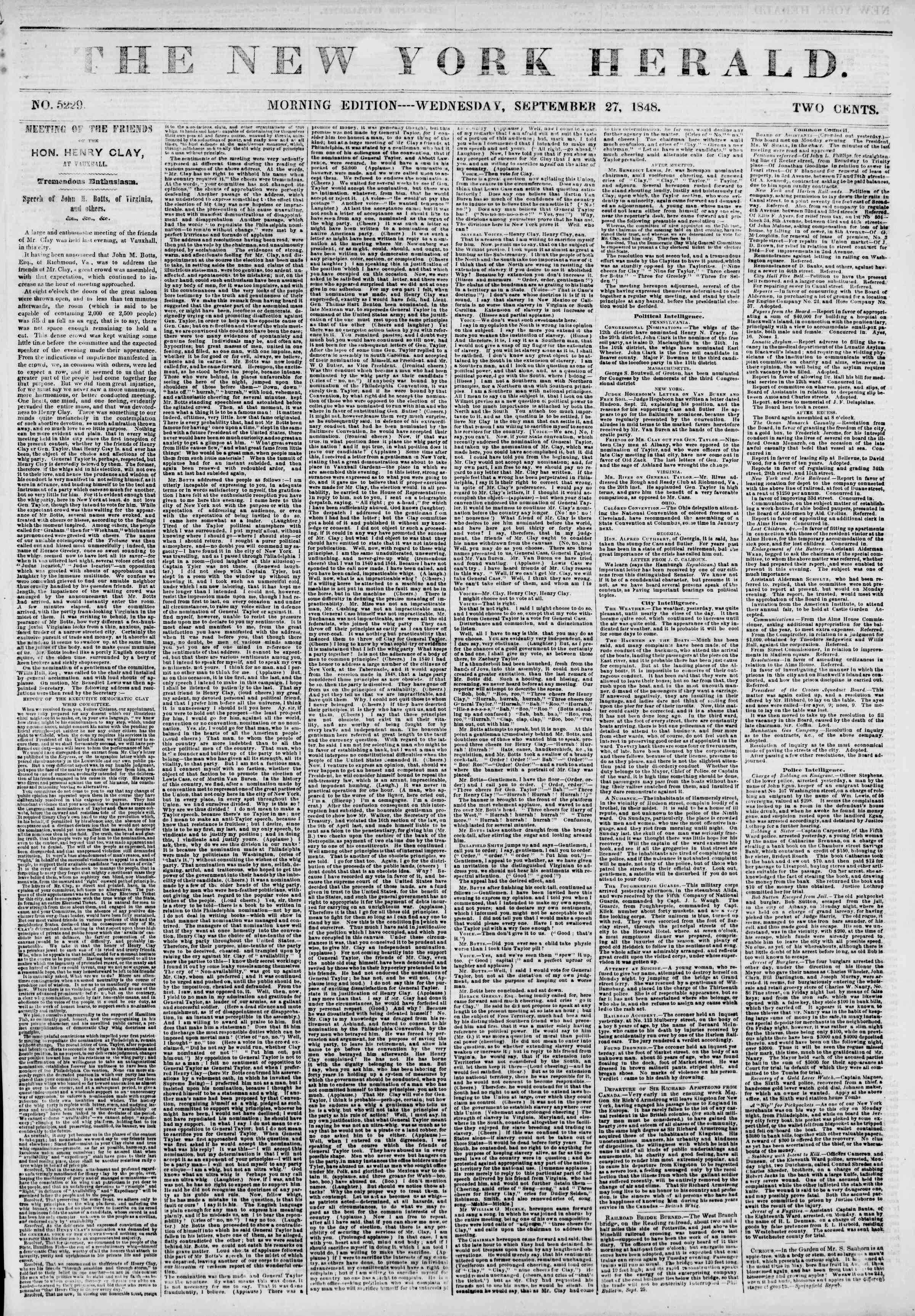Newspaper of The New York Herald dated September 27, 1848 Page 1
