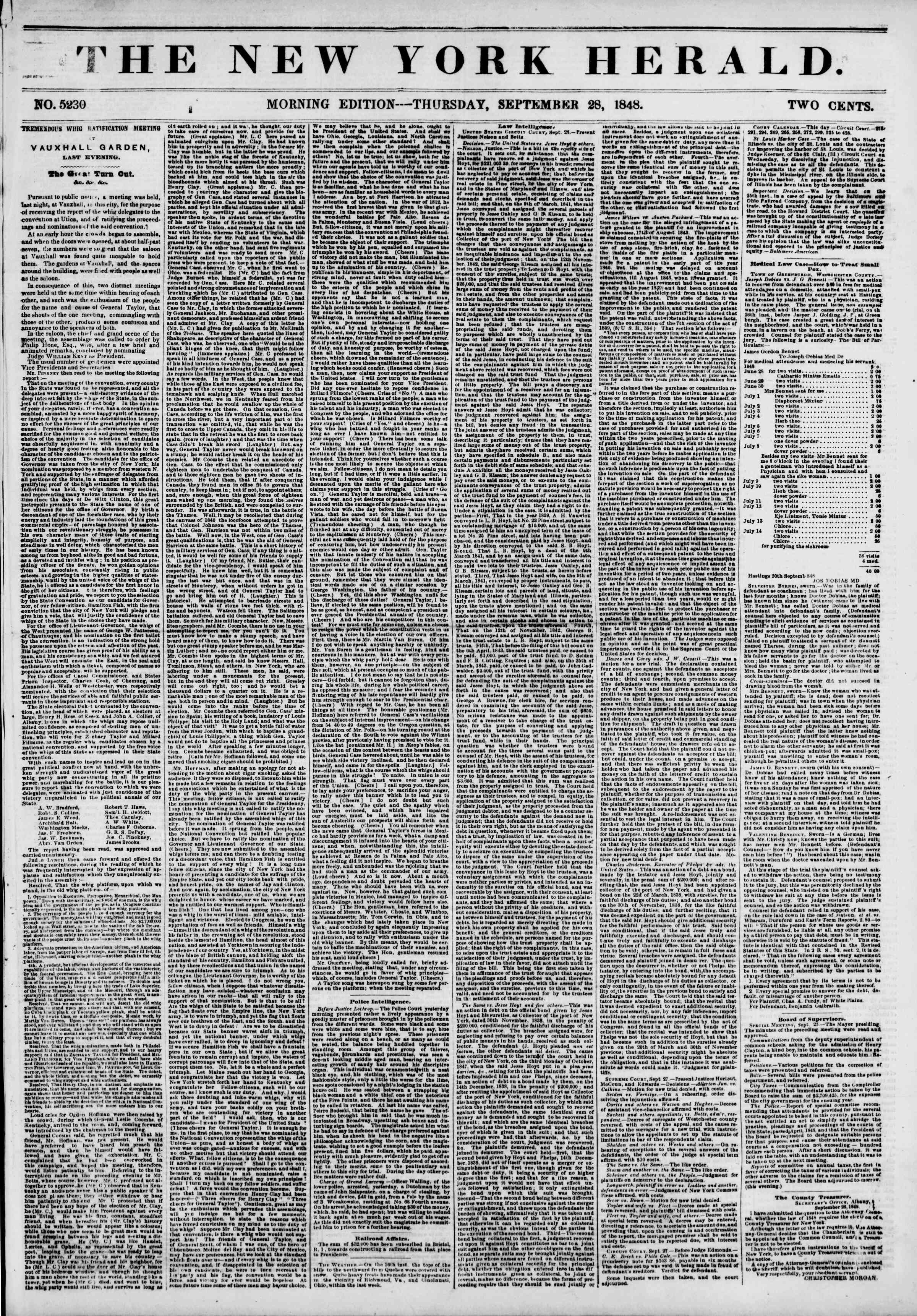 Newspaper of The New York Herald dated September 28, 1848 Page 1