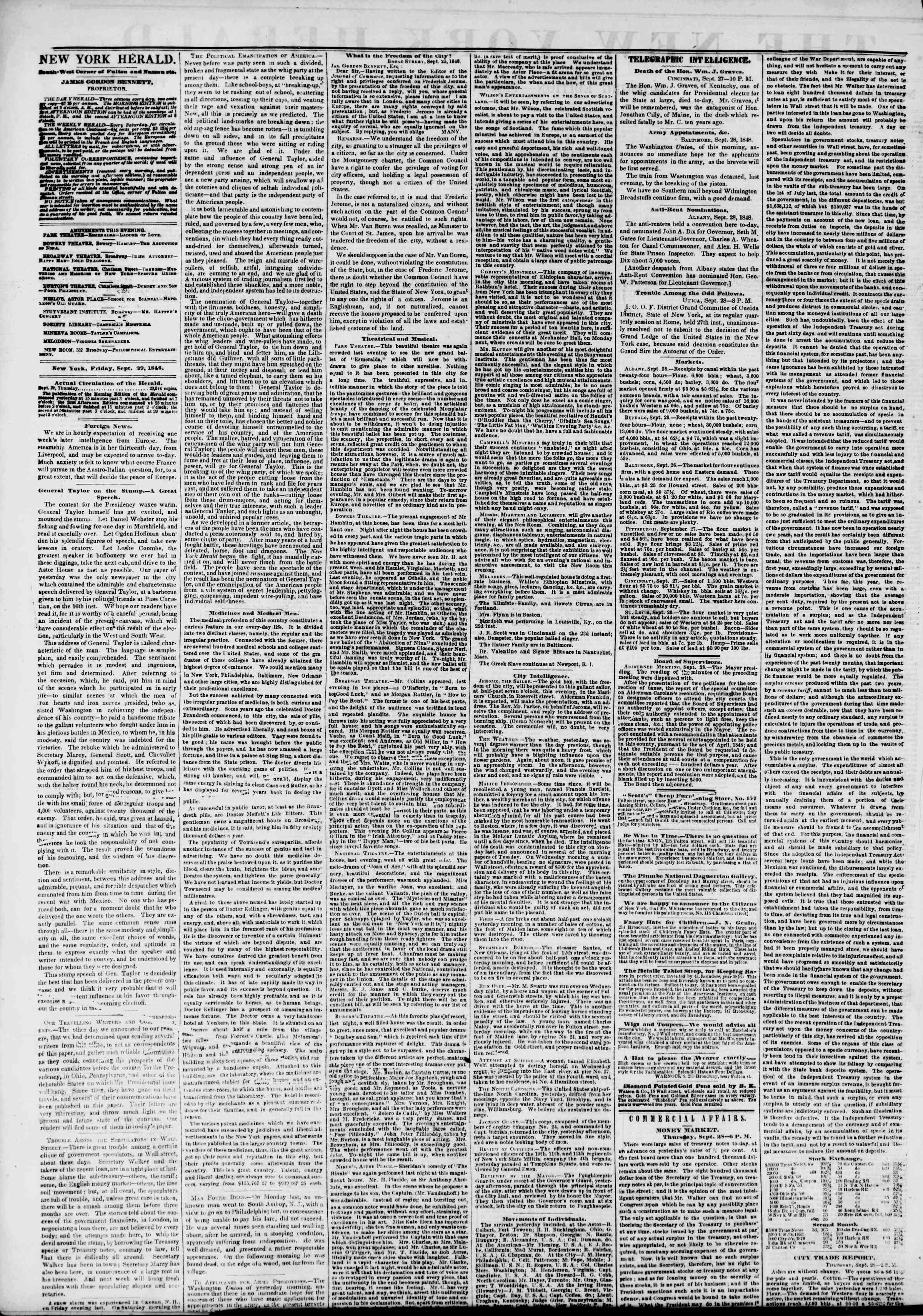Newspaper of The New York Herald dated September 29, 1848 Page 2
