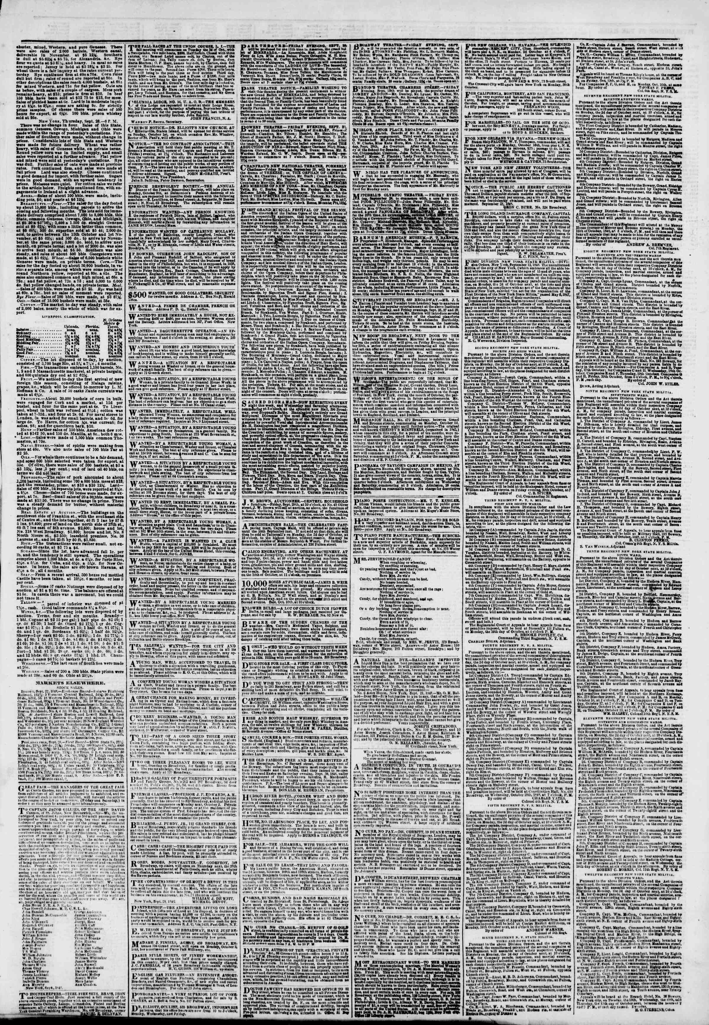 Newspaper of The New York Herald dated September 29, 1848 Page 5