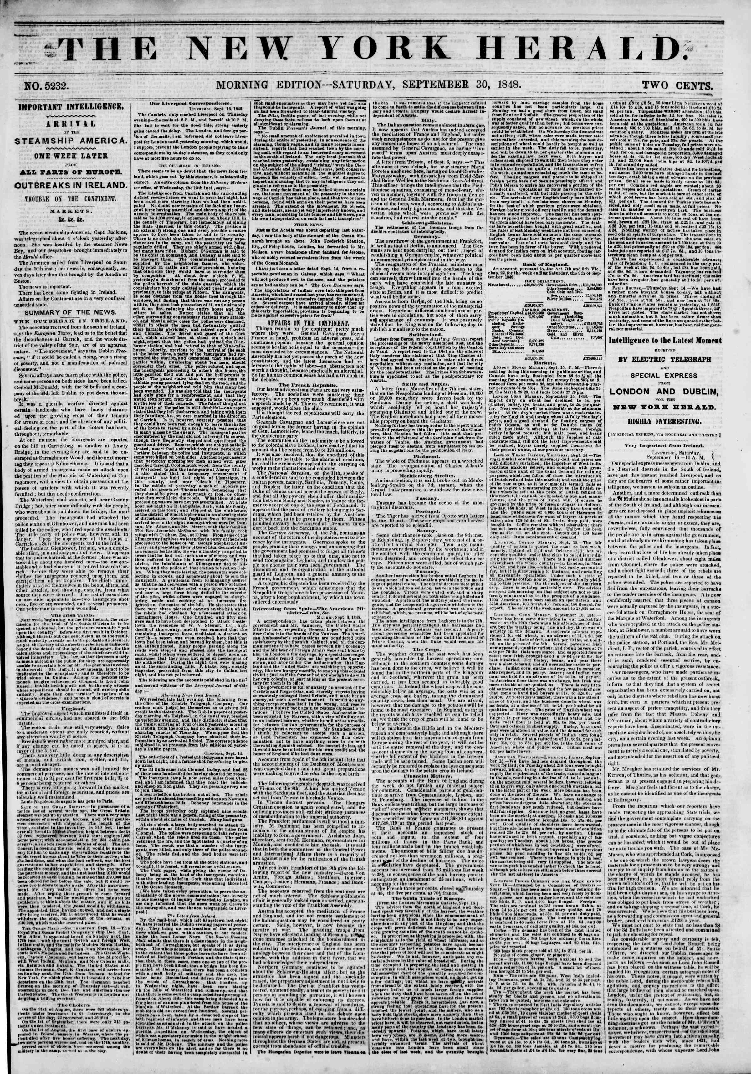 Newspaper of The New York Herald dated September 30, 1848 Page 1