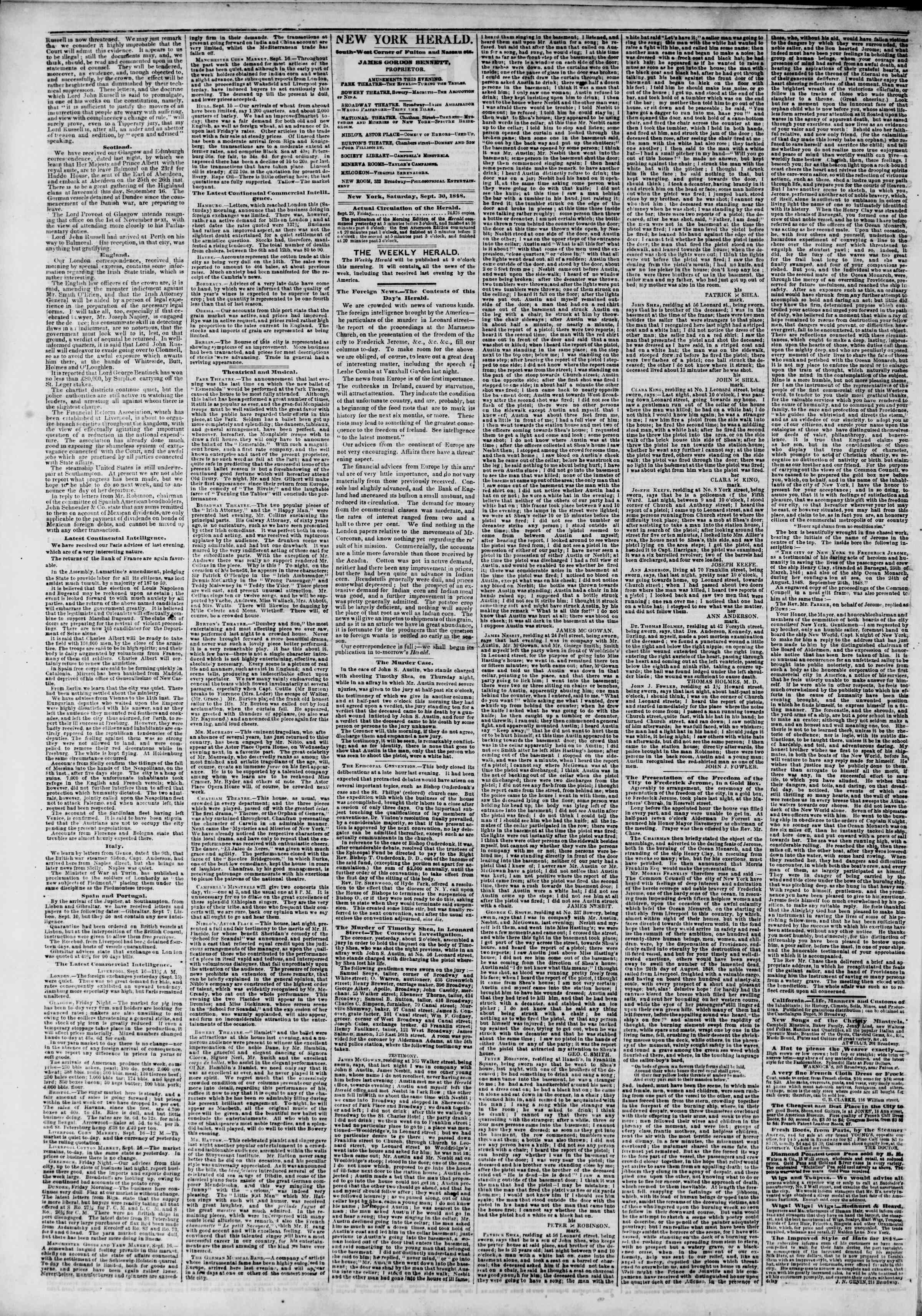 Newspaper of The New York Herald dated September 30, 1848 Page 2