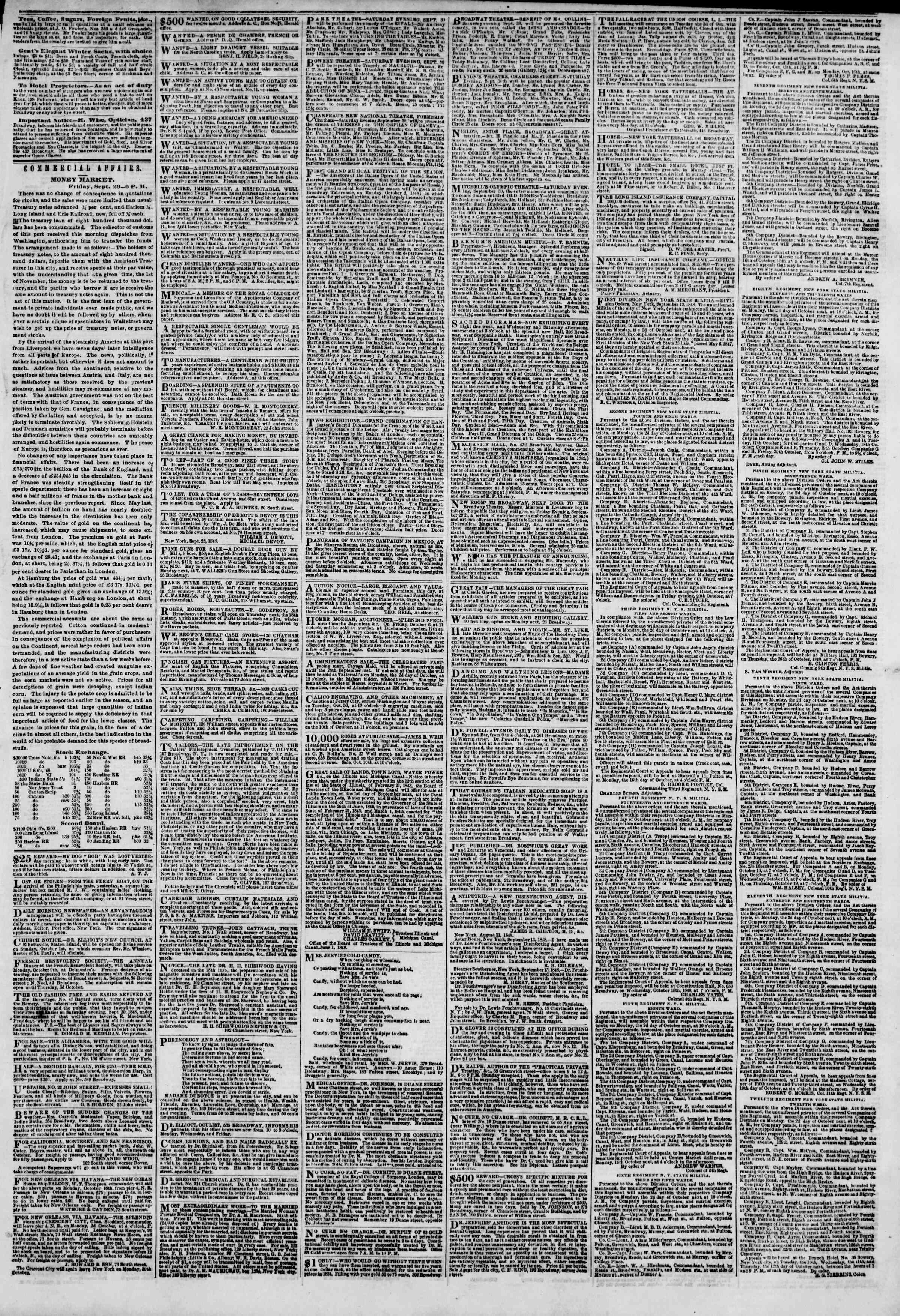 Newspaper of The New York Herald dated September 30, 1848 Page 3