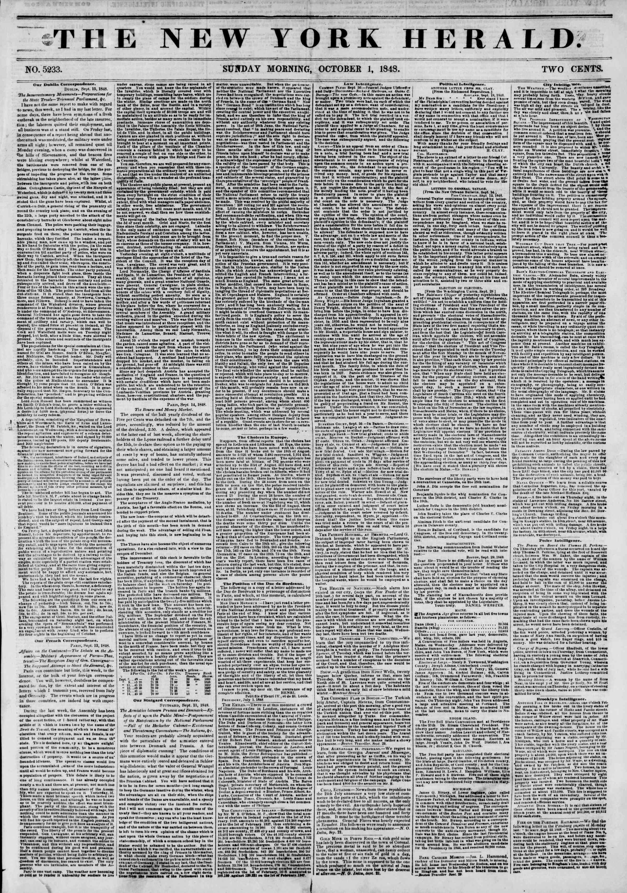 Newspaper of The New York Herald dated October 1, 1848 Page 1