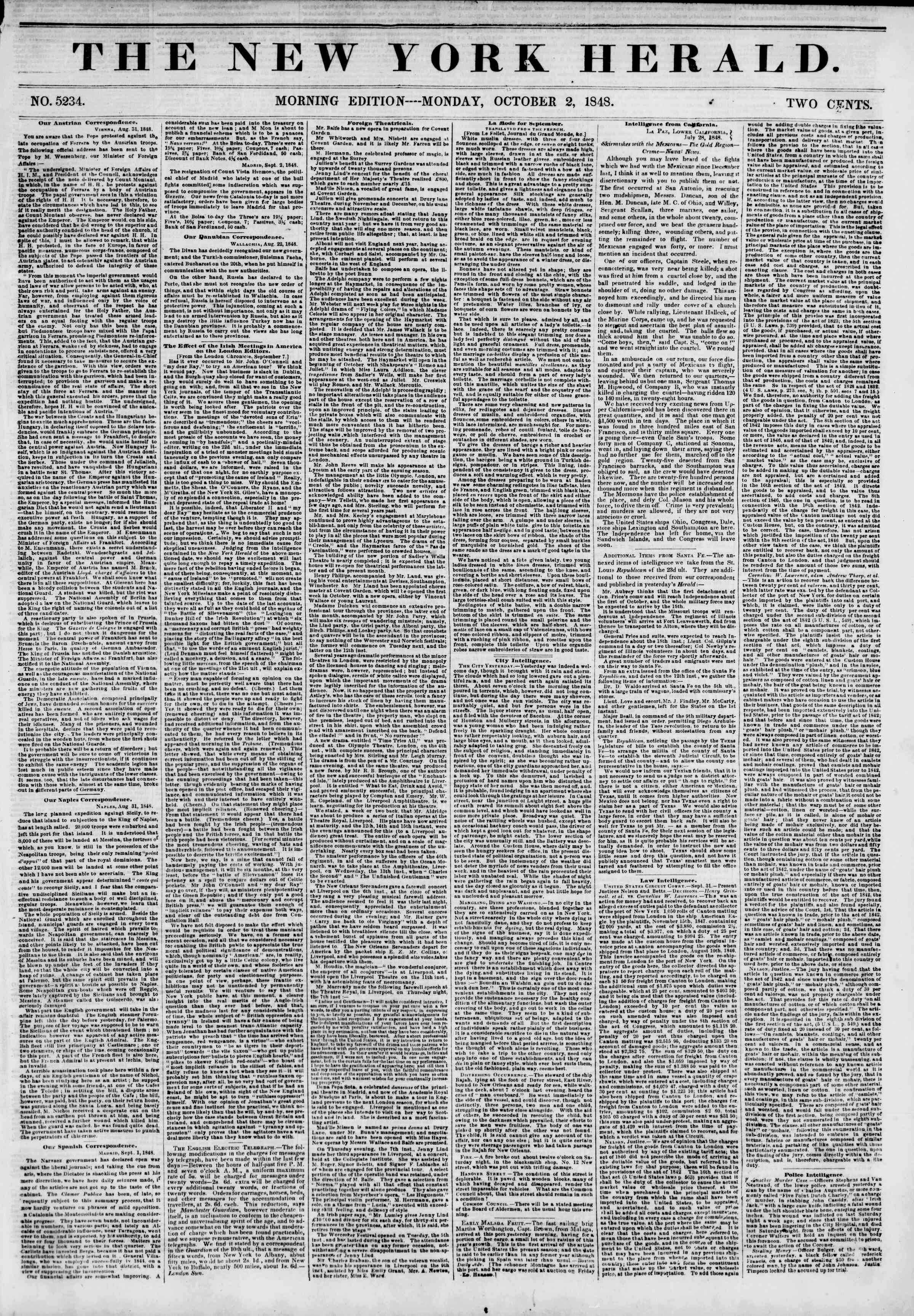 Newspaper of The New York Herald dated October 2, 1848 Page 1