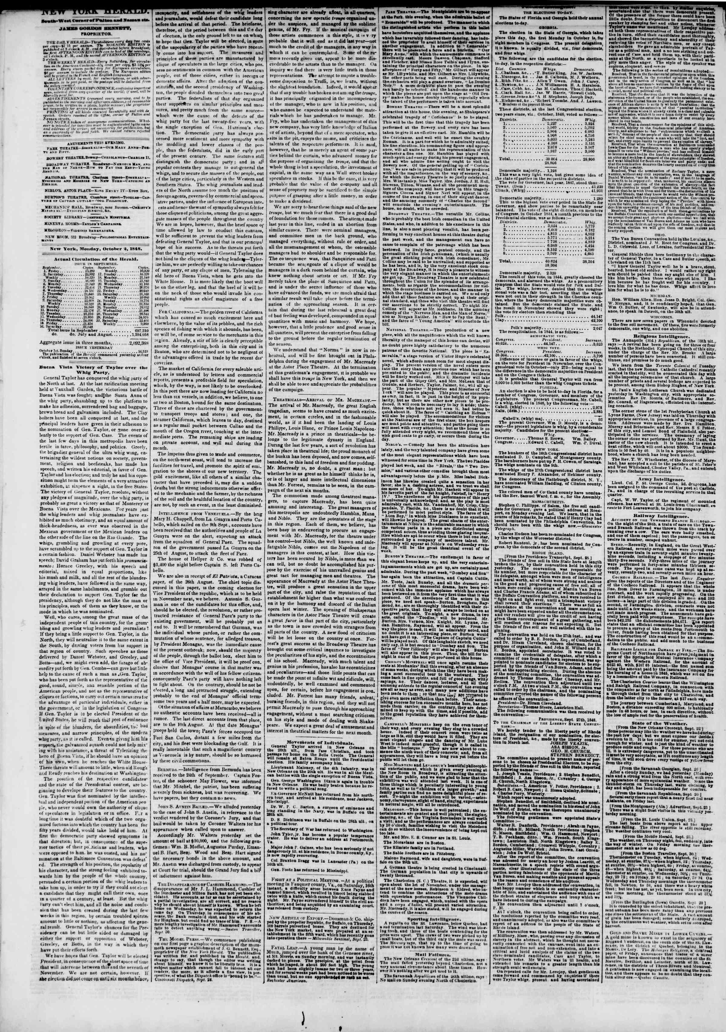 Newspaper of The New York Herald dated October 2, 1848 Page 2