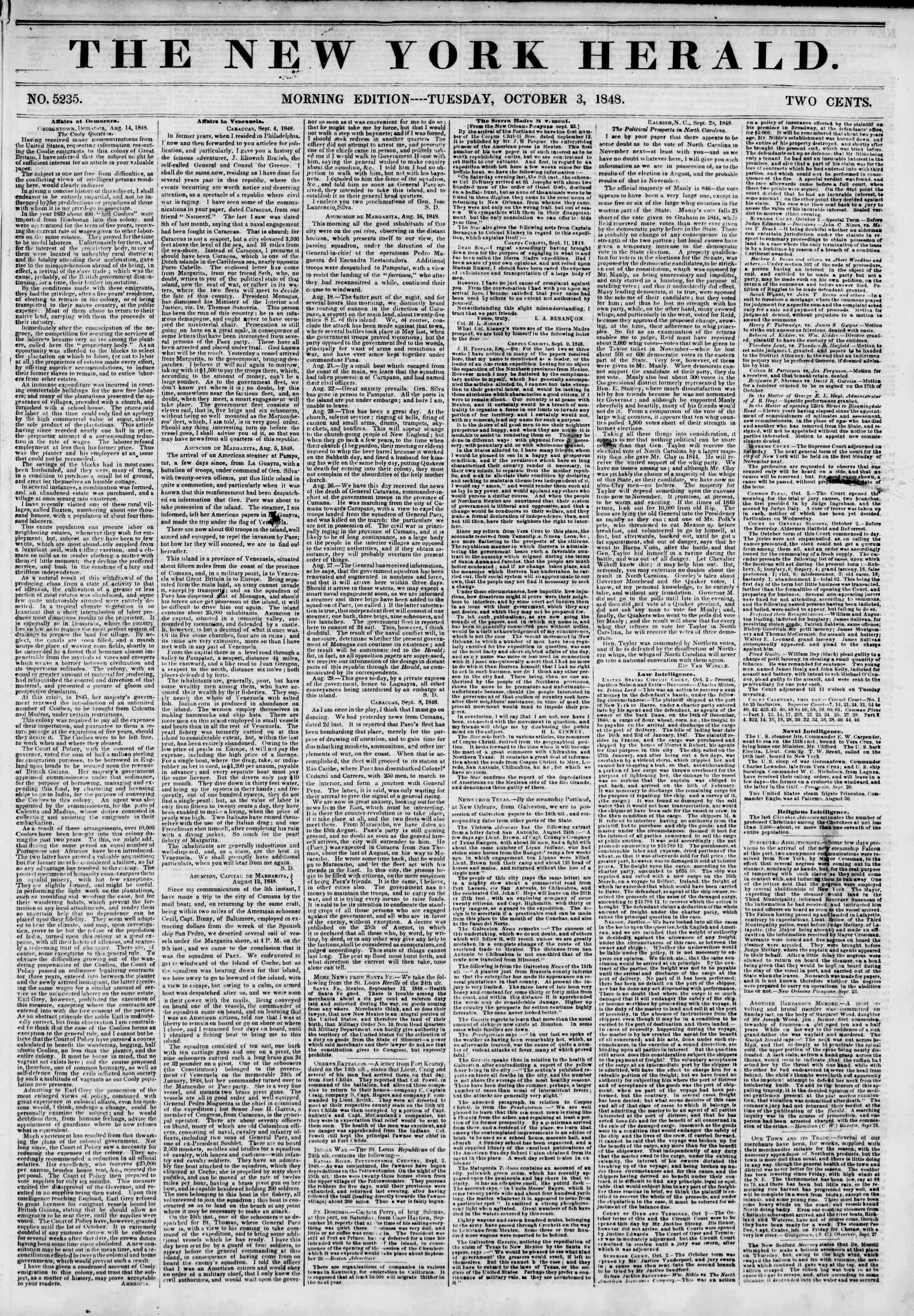Newspaper of The New York Herald dated October 3, 1848 Page 1