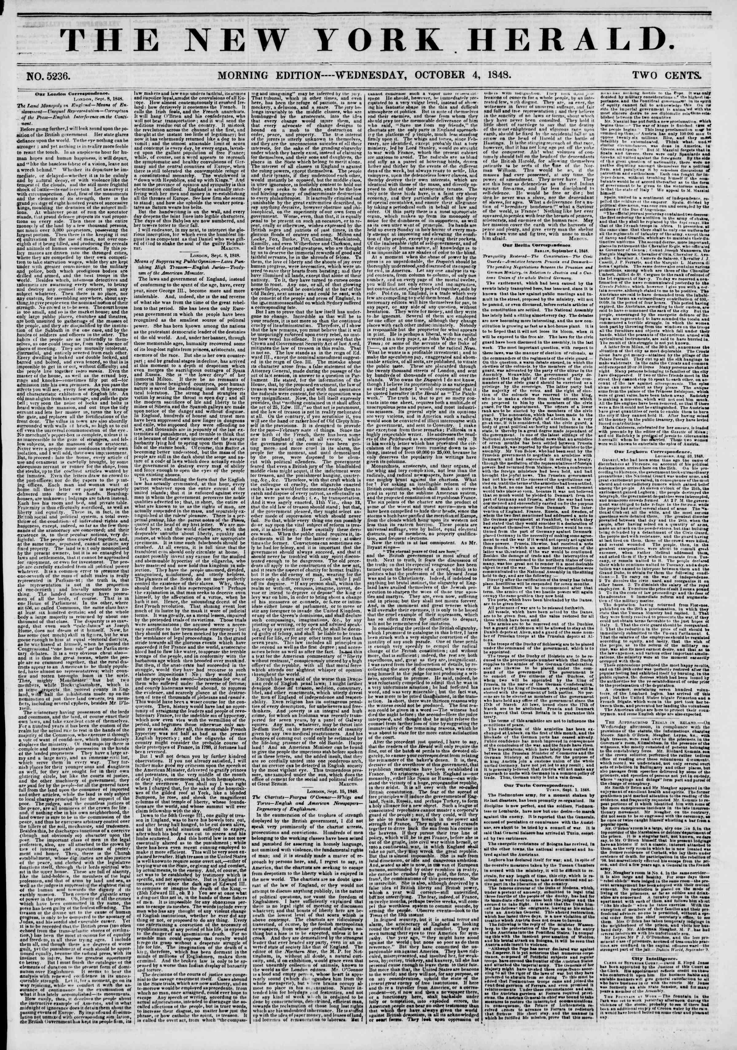 4 Ekim 1848 tarihli The New York Herald Gazetesi Sayfa 1