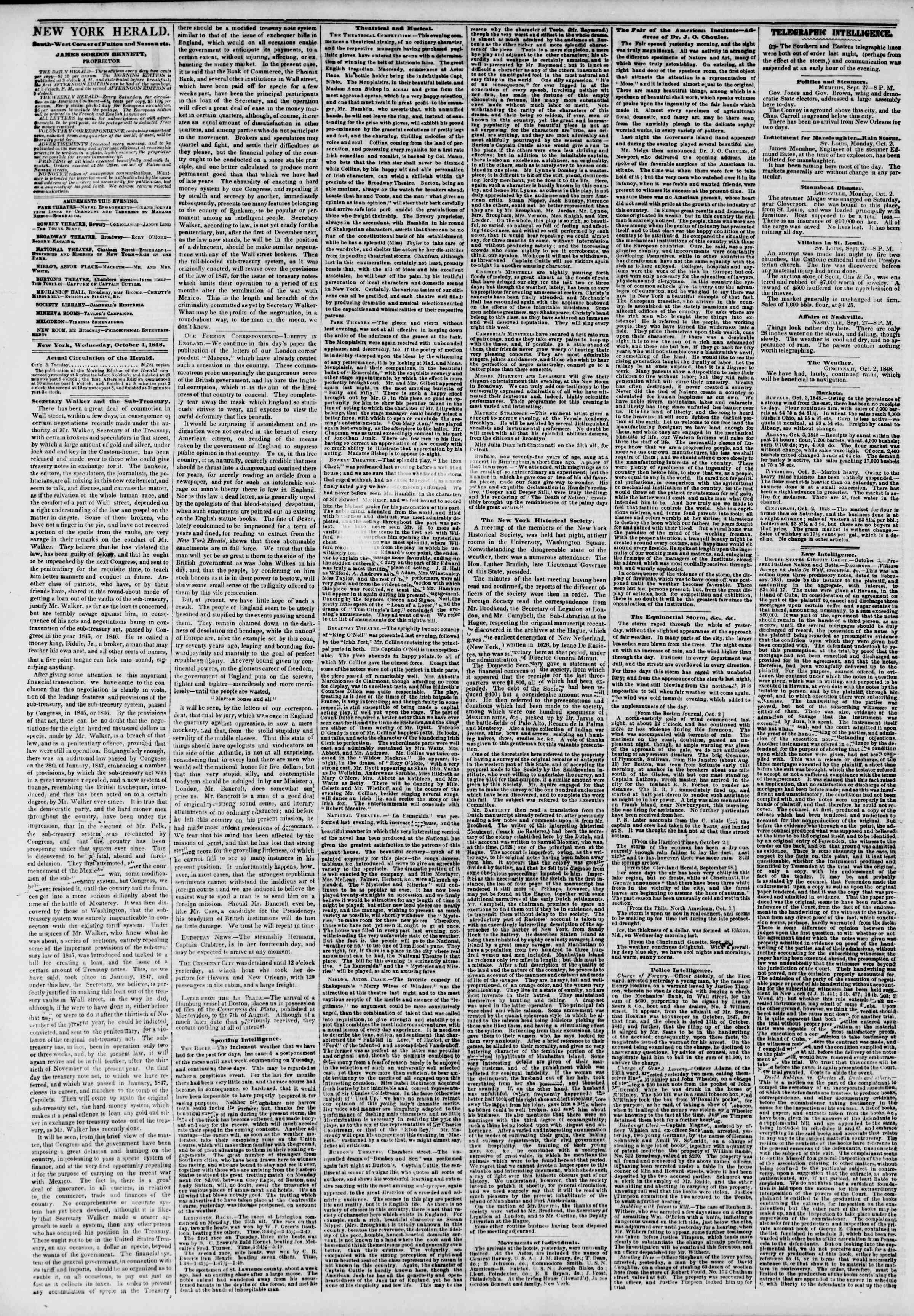 Newspaper of The New York Herald dated October 4, 1848 Page 2
