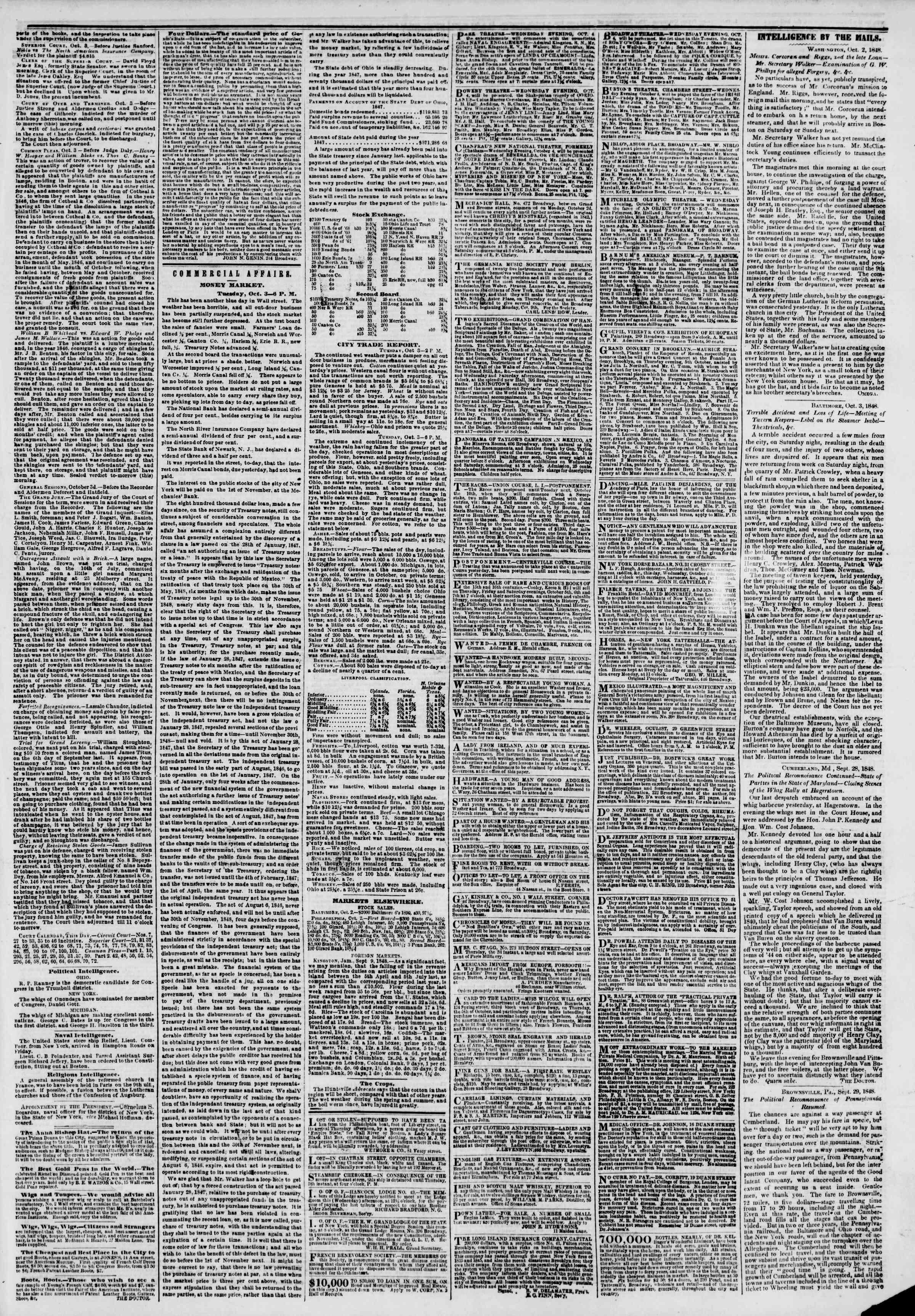 4 Ekim 1848 tarihli The New York Herald Gazetesi Sayfa 3