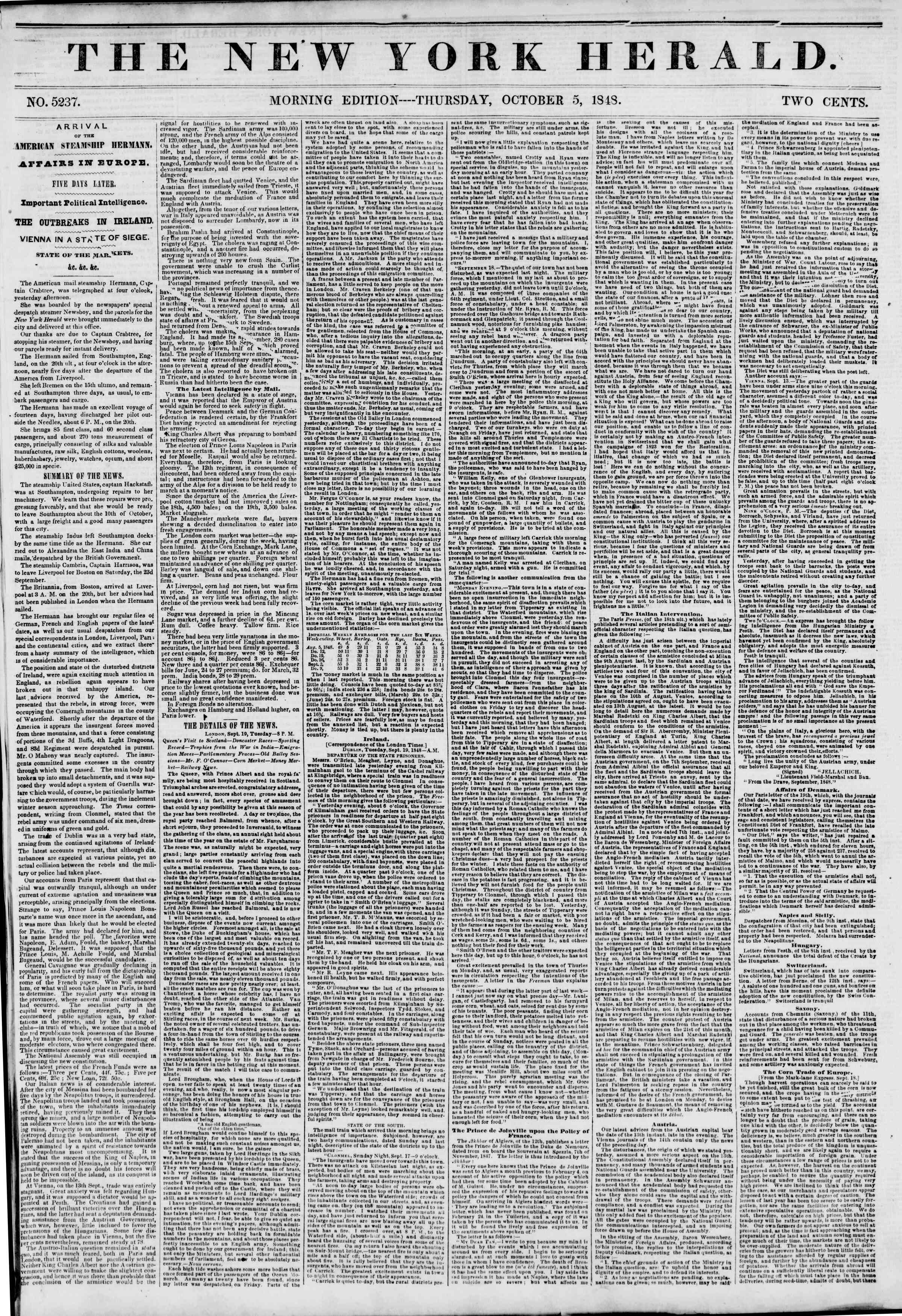 Newspaper of The New York Herald dated October 5, 1848 Page 1