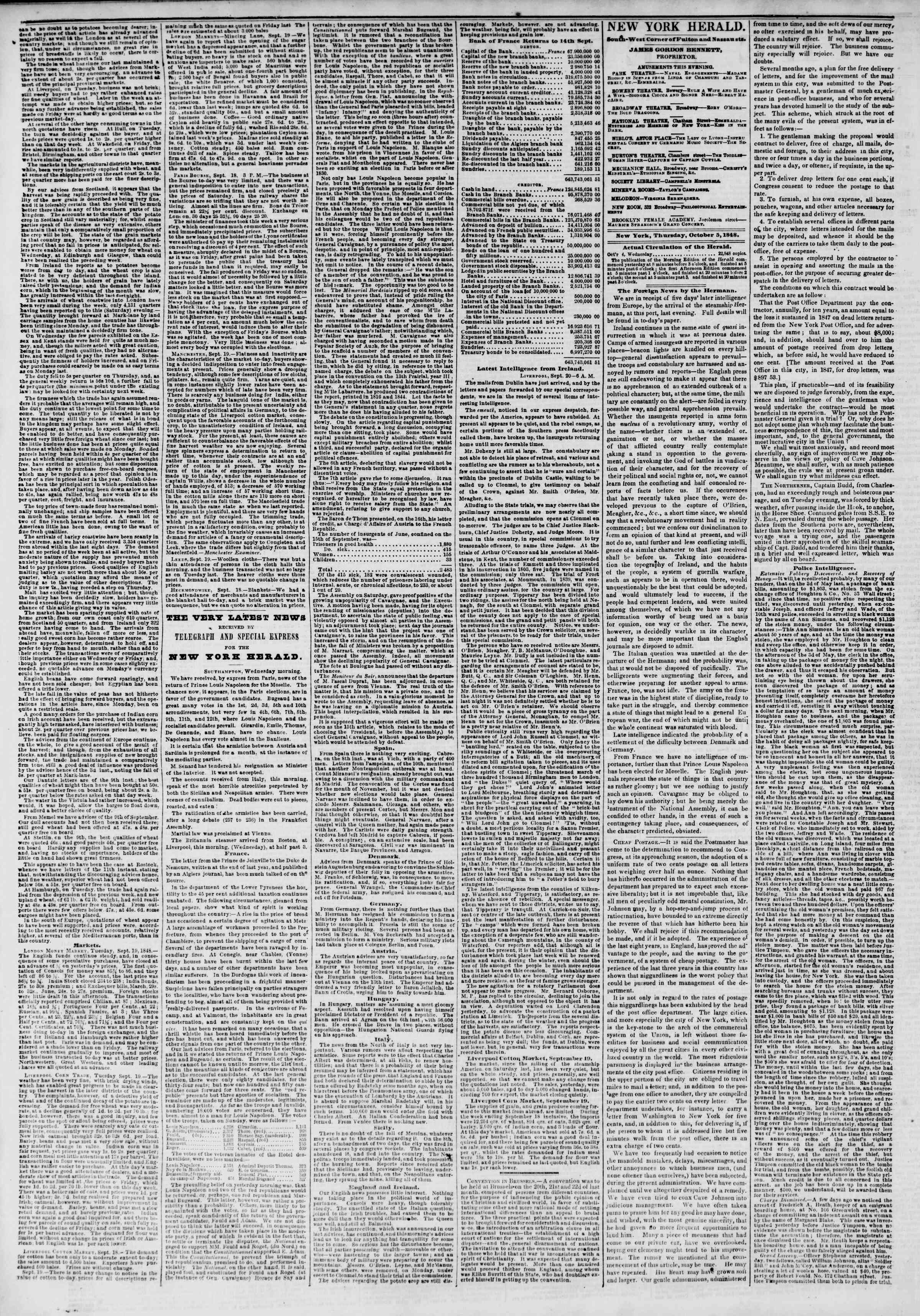 Newspaper of The New York Herald dated October 5, 1848 Page 2