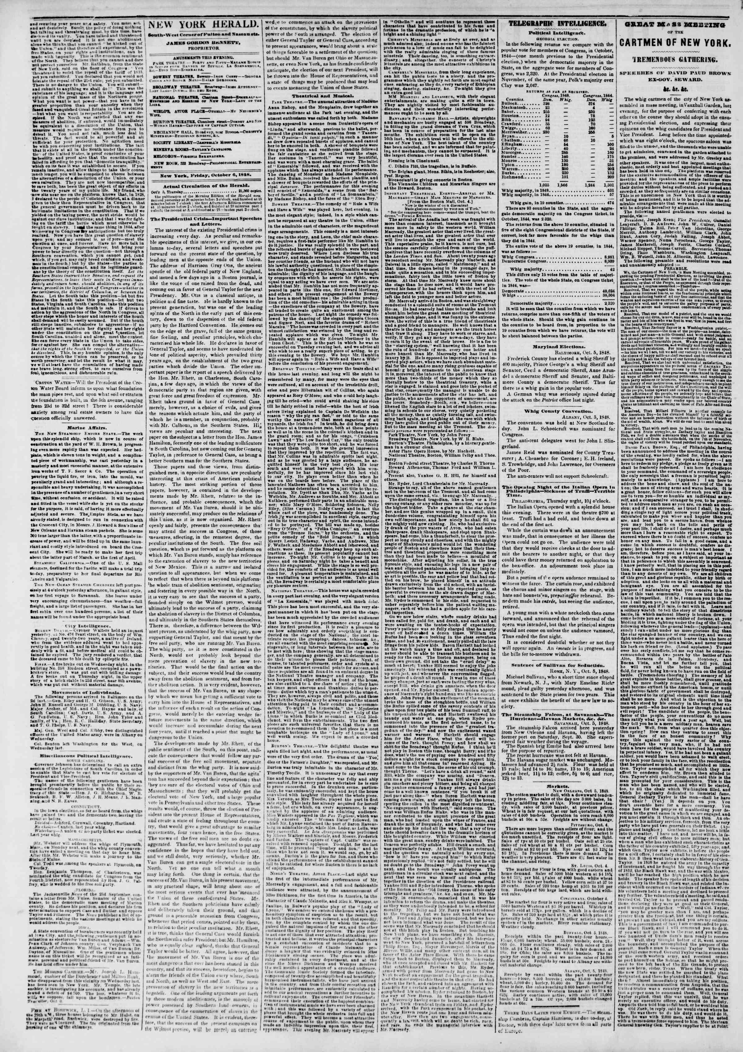 Newspaper of The New York Herald dated October 6, 1848 Page 2