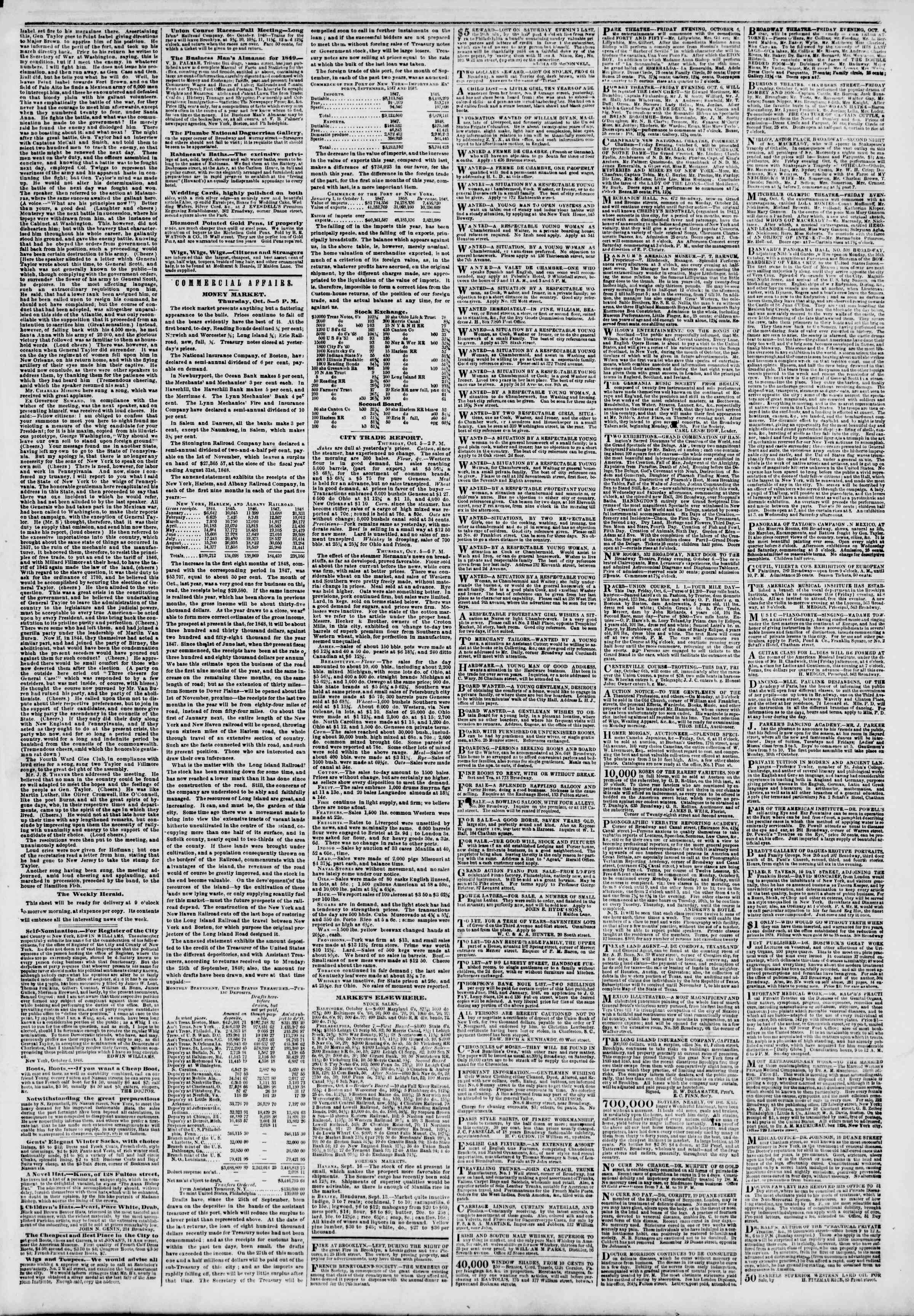 Newspaper of The New York Herald dated October 6, 1848 Page 3