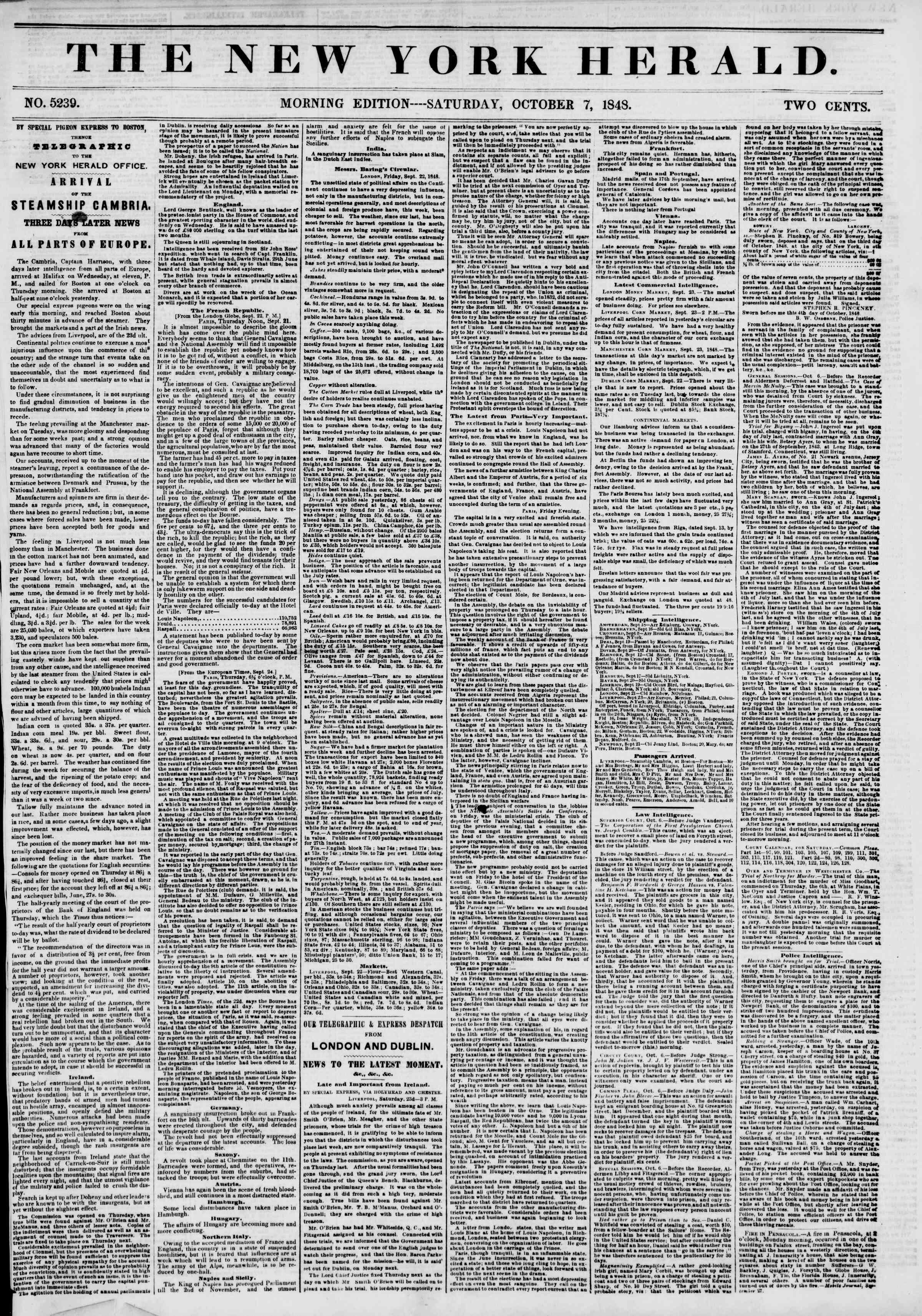 Newspaper of The New York Herald dated October 7, 1848 Page 1