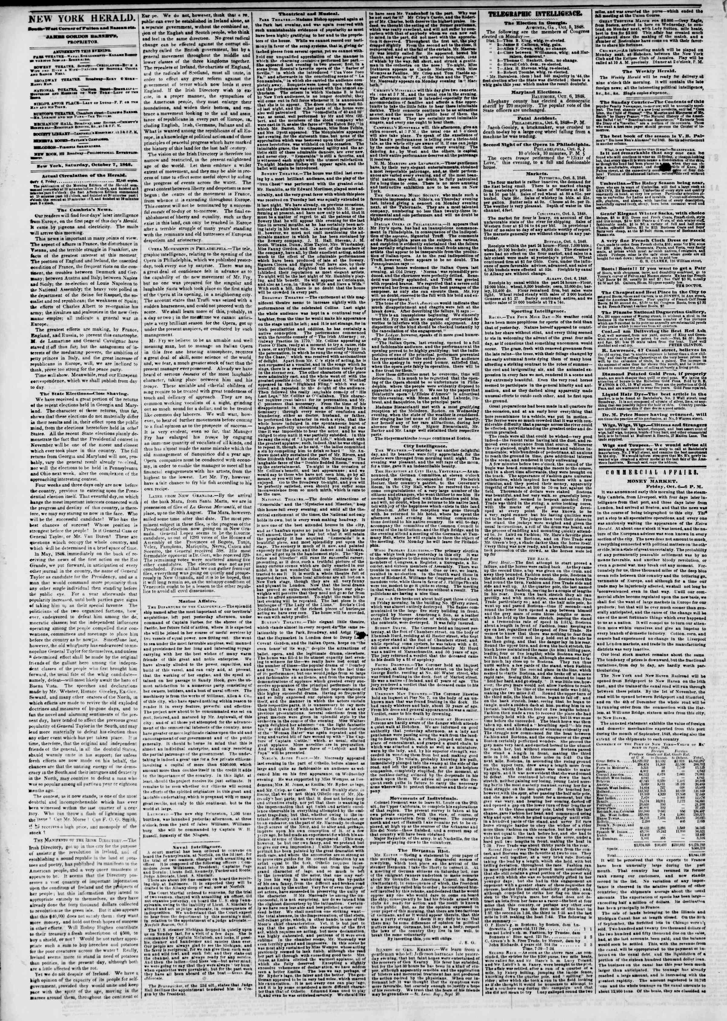 Newspaper of The New York Herald dated October 7, 1848 Page 2