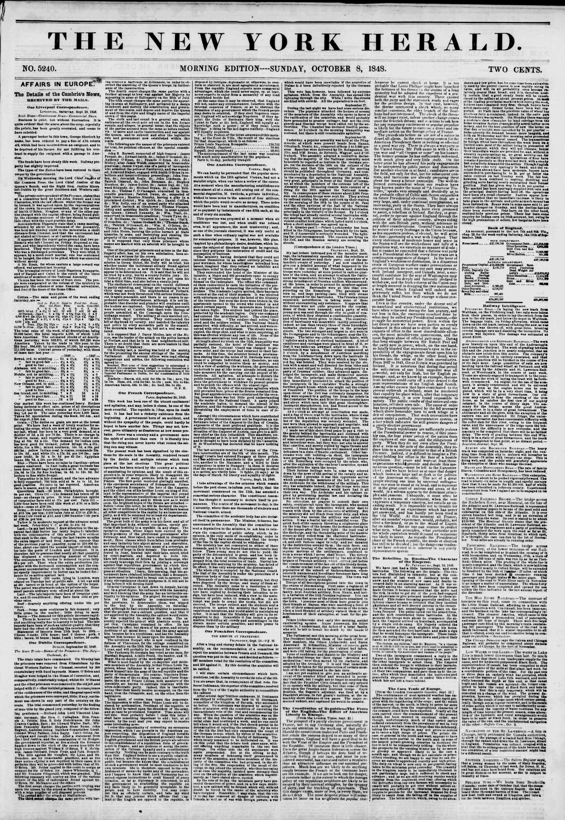Newspaper of The New York Herald dated October 8, 1848 Page 1