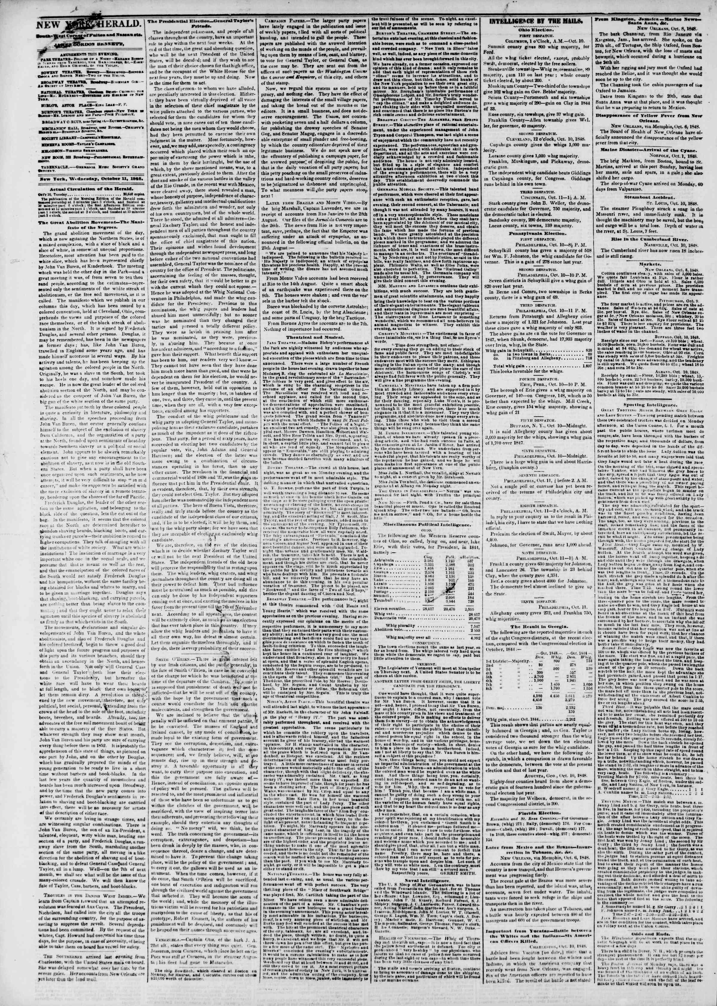 Newspaper of The New York Herald dated October 11, 1848 Page 2