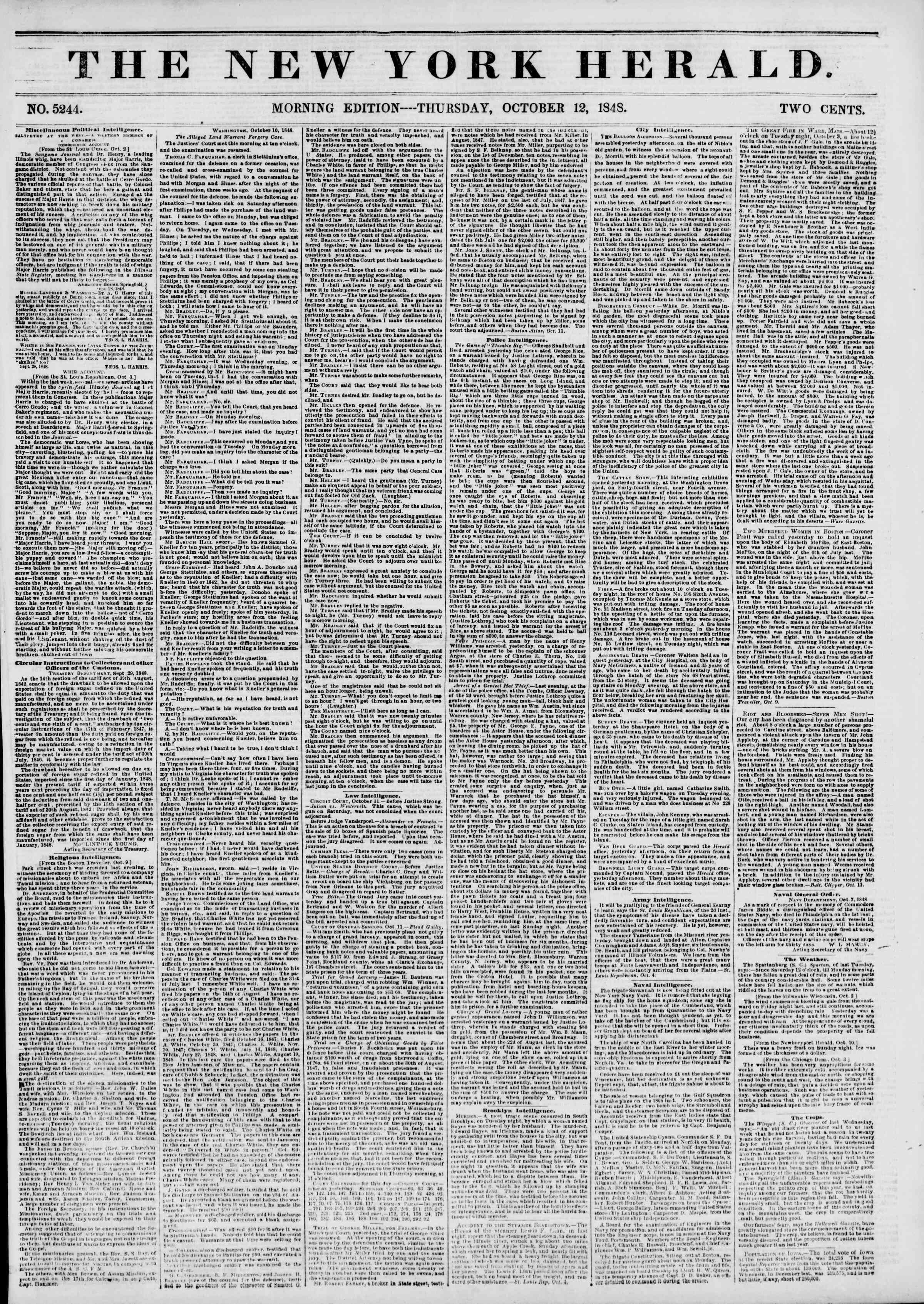 Newspaper of The New York Herald dated October 12, 1848 Page 1