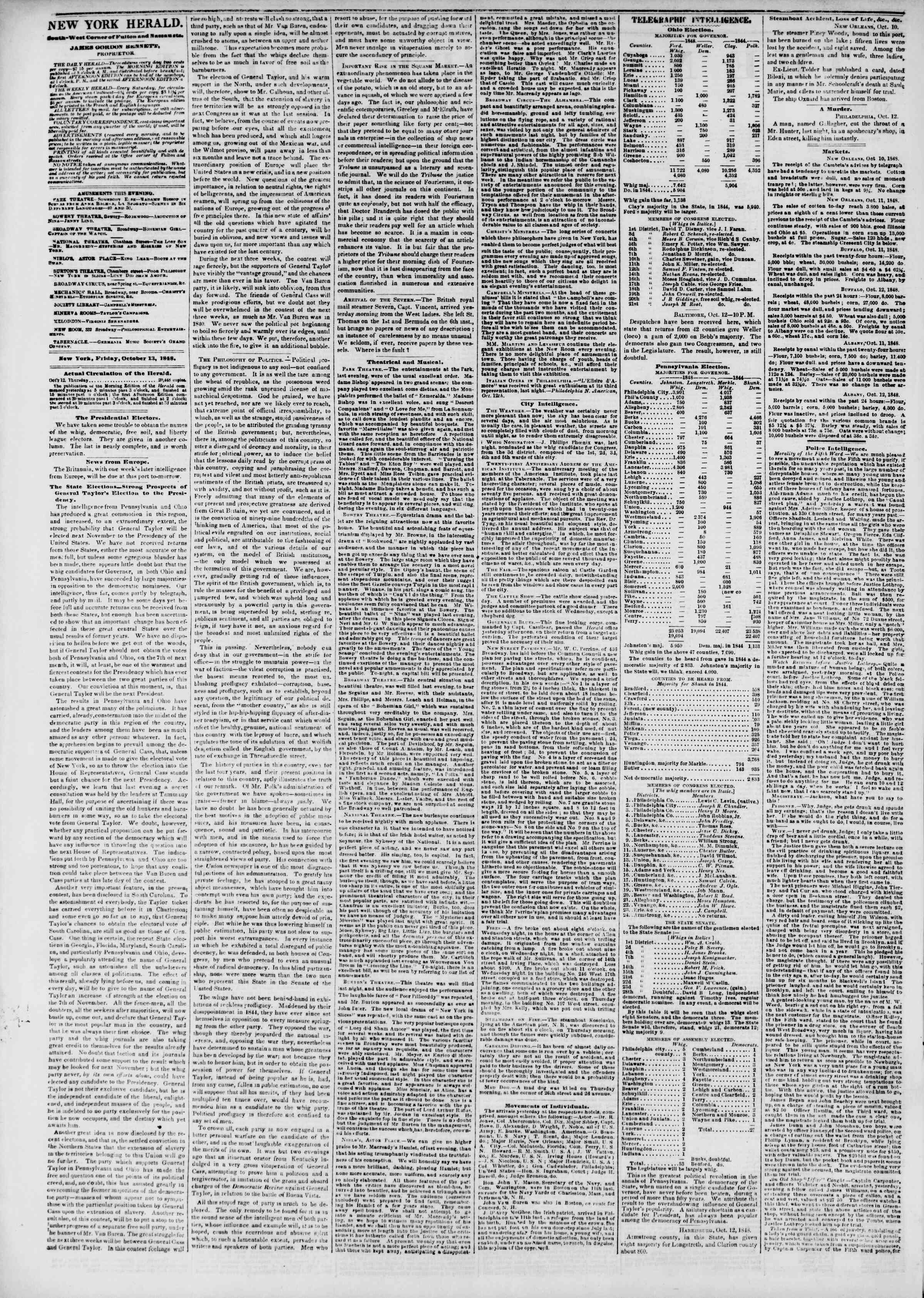 Newspaper of The New York Herald dated October 13, 1848 Page 2