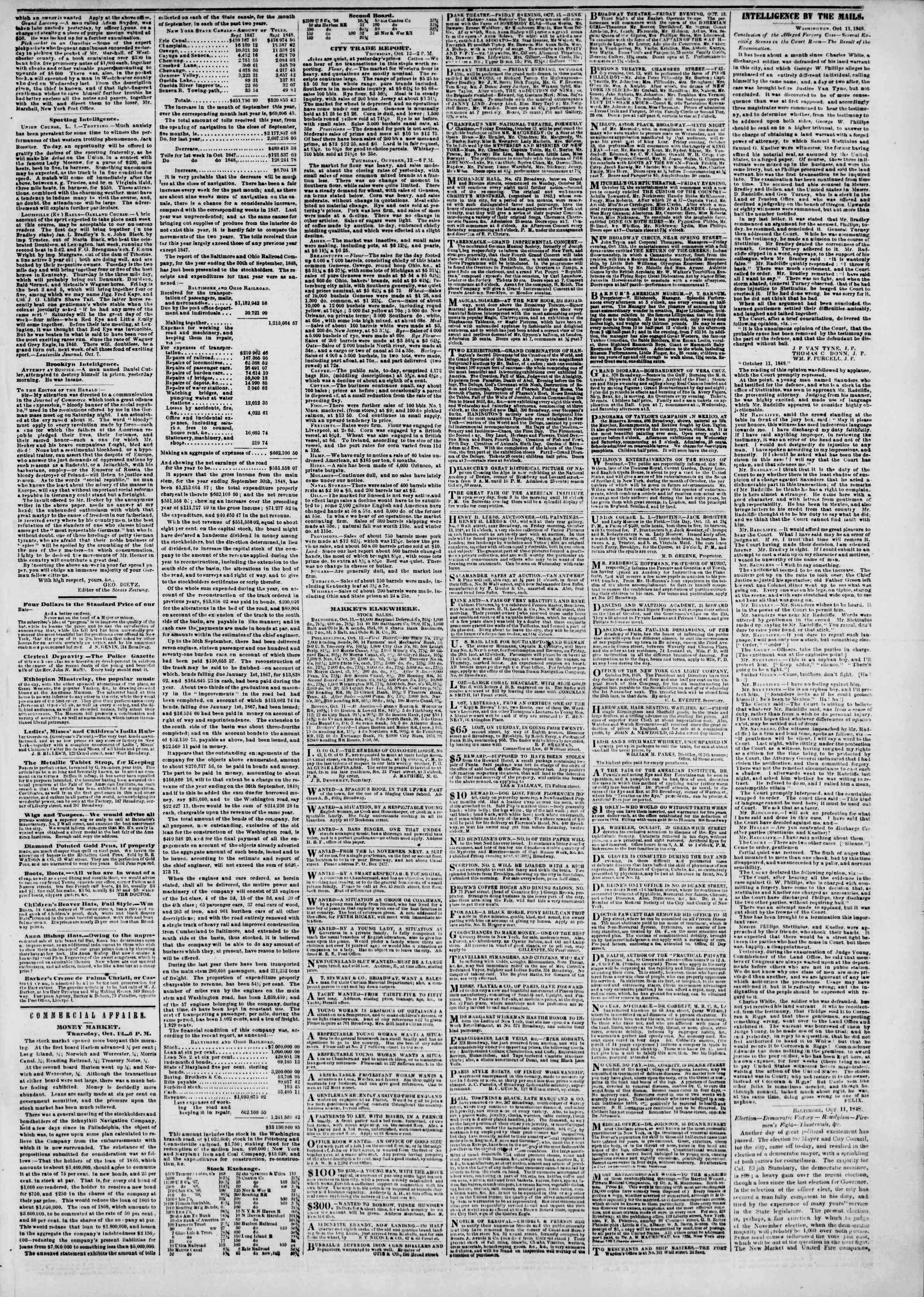 Newspaper of The New York Herald dated October 13, 1848 Page 3