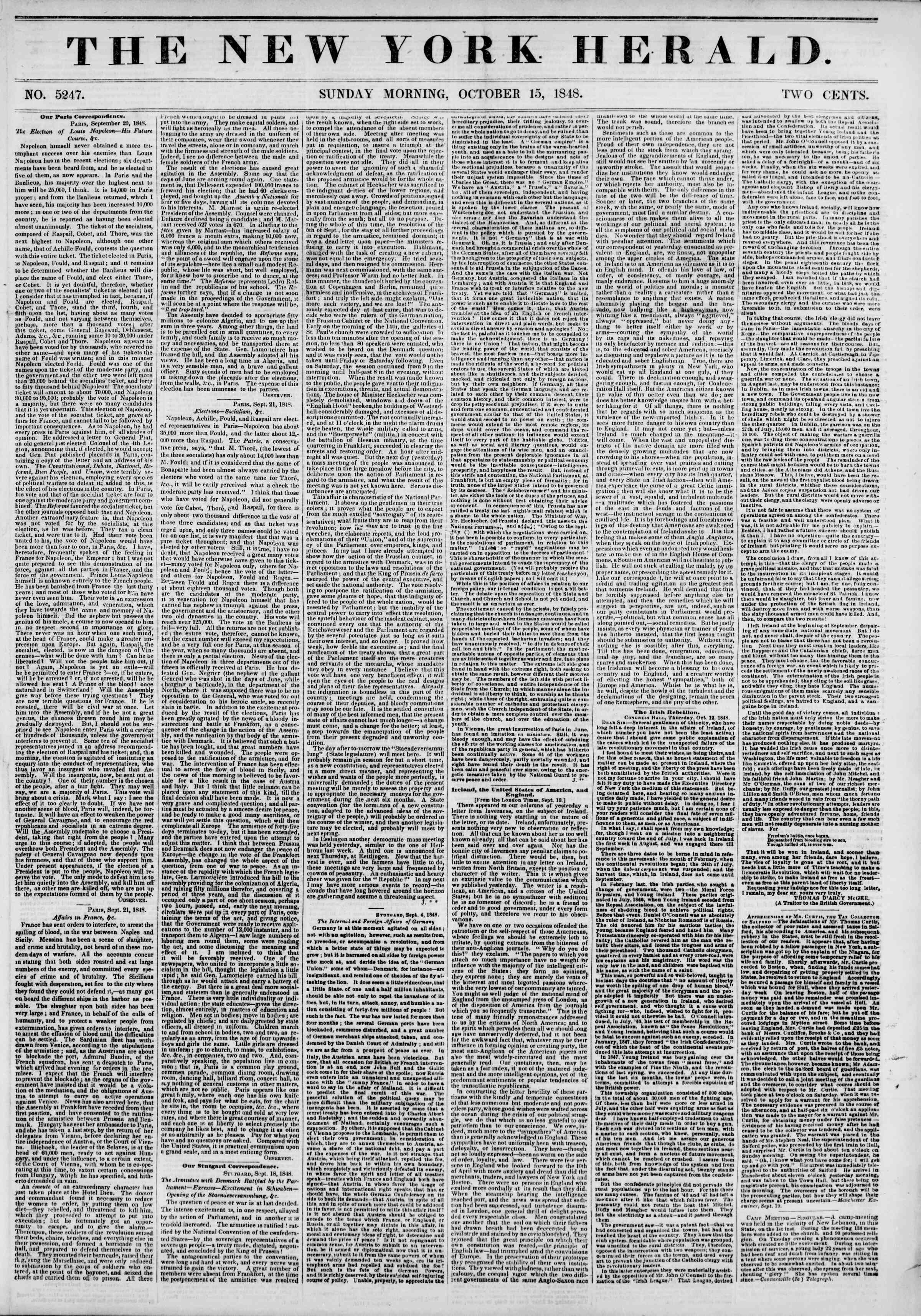 15 Ekim 1848 tarihli The New York Herald Gazetesi Sayfa 1
