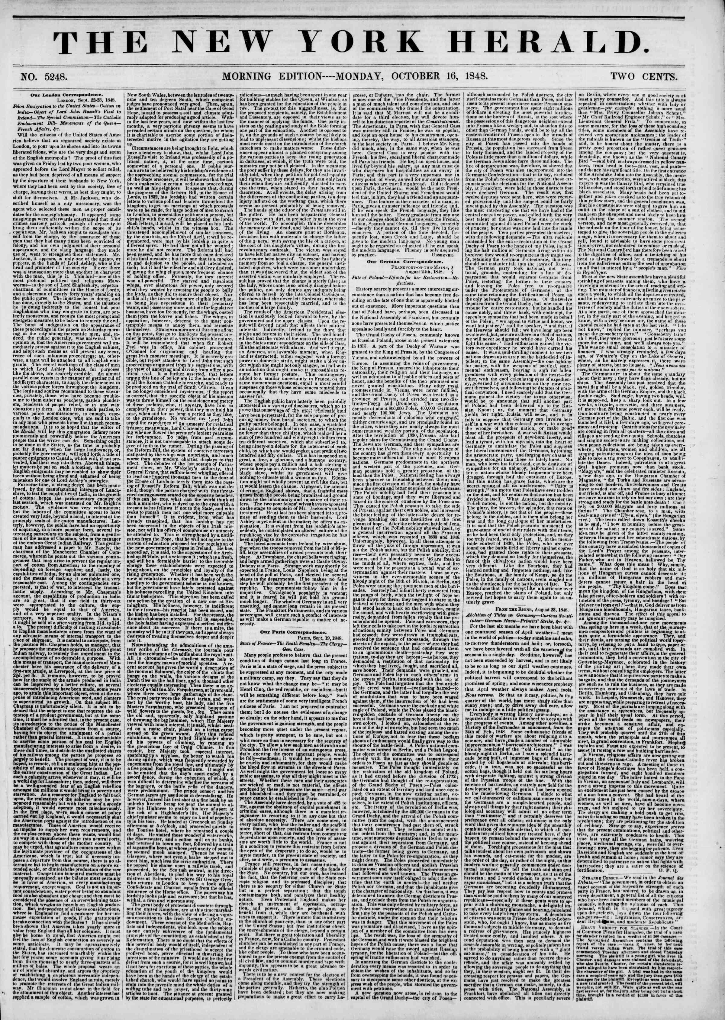 16 Ekim 1848 tarihli The New York Herald Gazetesi Sayfa 1
