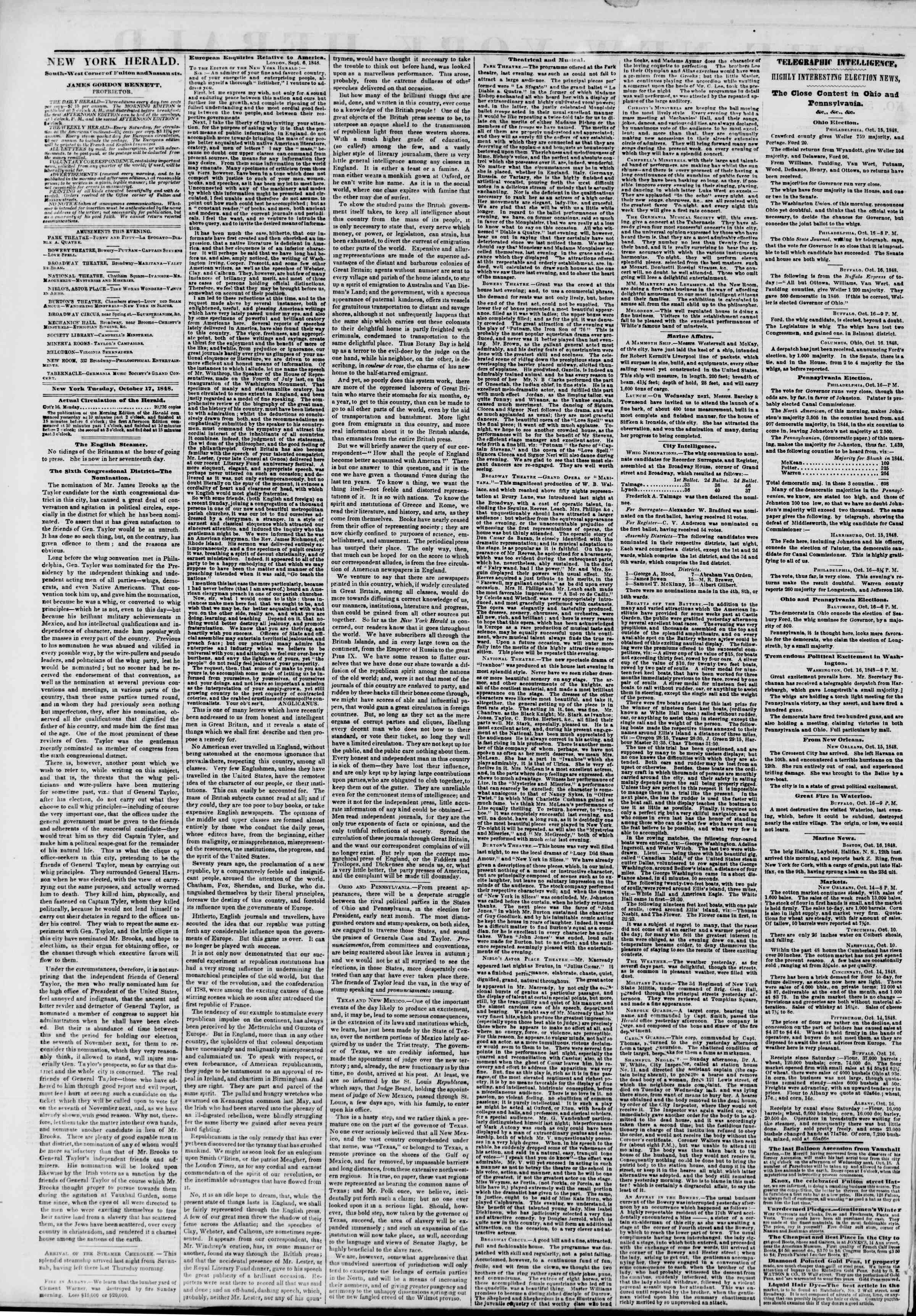 Newspaper of The New York Herald dated October 17, 1848 Page 2