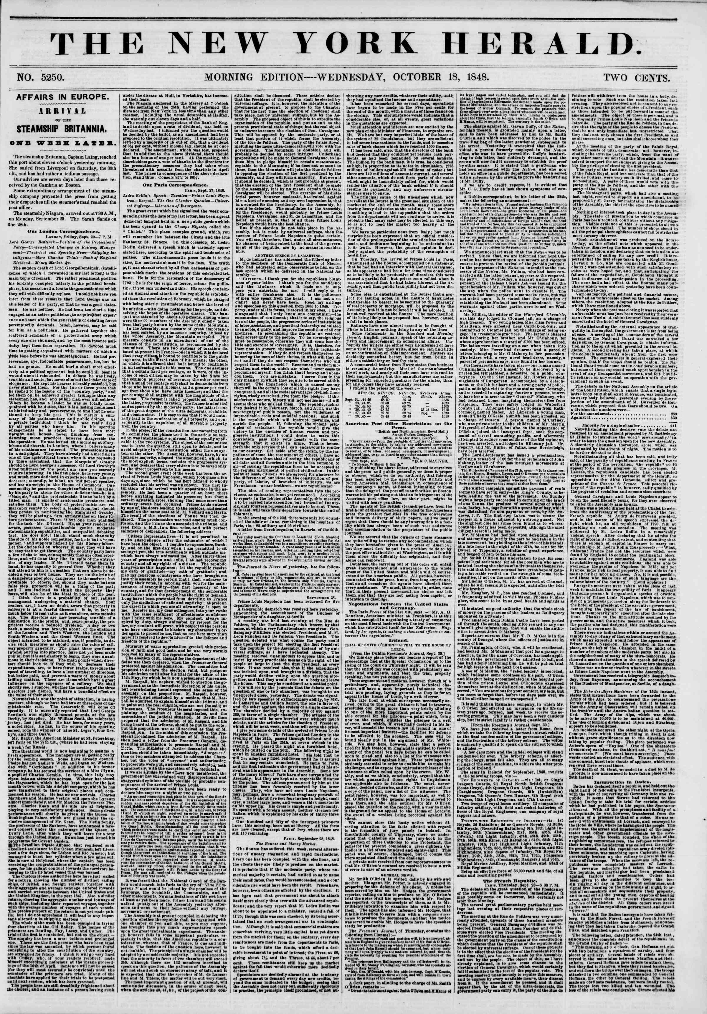 Newspaper of The New York Herald dated October 18, 1848 Page 1