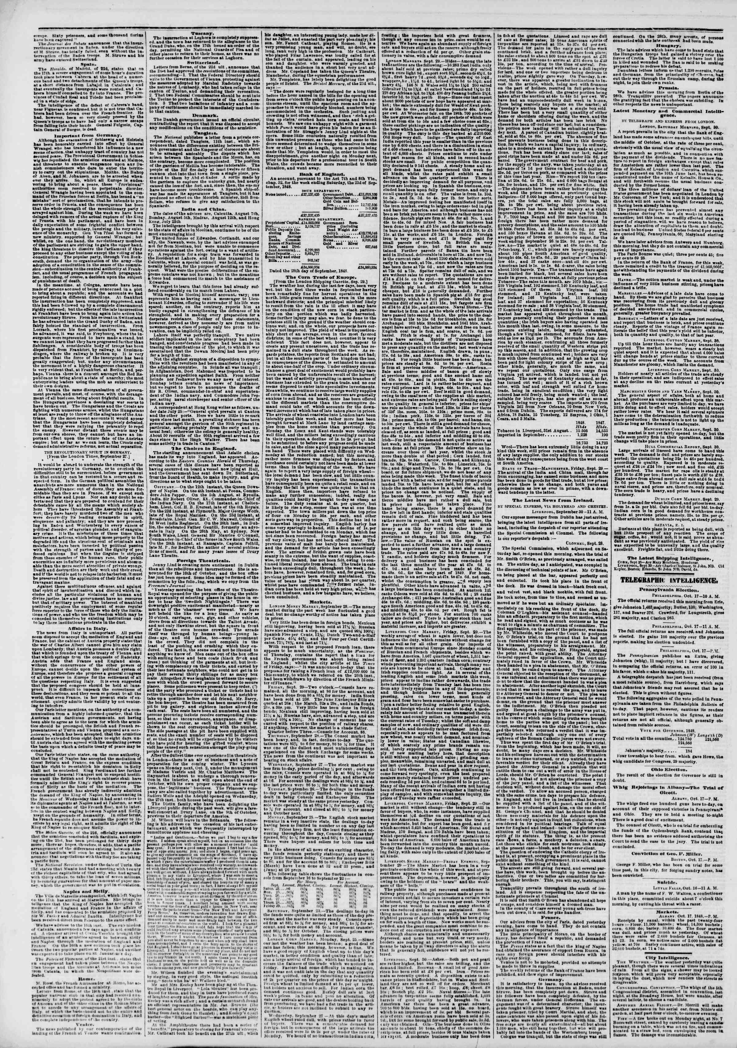 Newspaper of The New York Herald dated October 18, 1848 Page 2