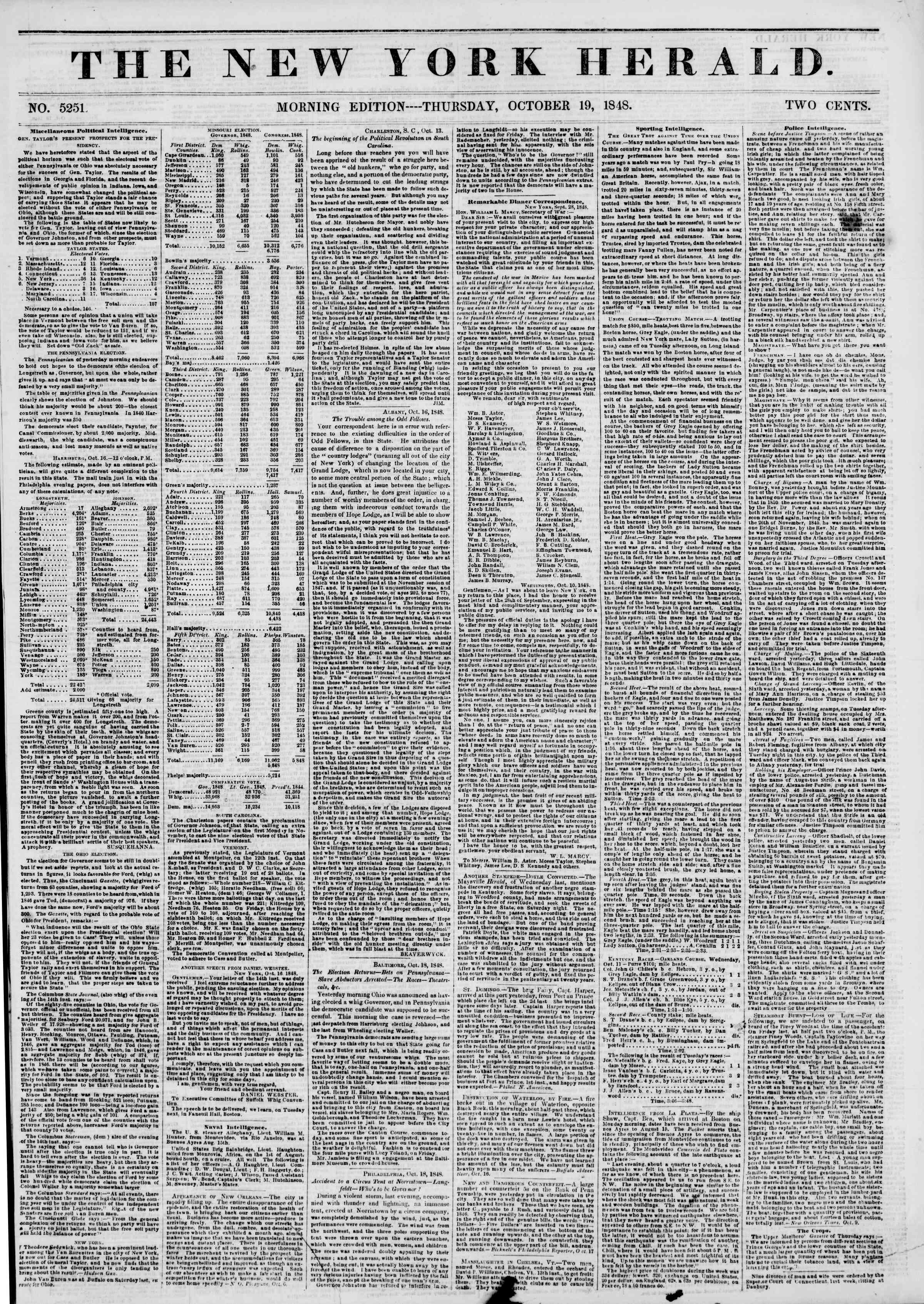 Newspaper of The New York Herald dated October 19, 1848 Page 1