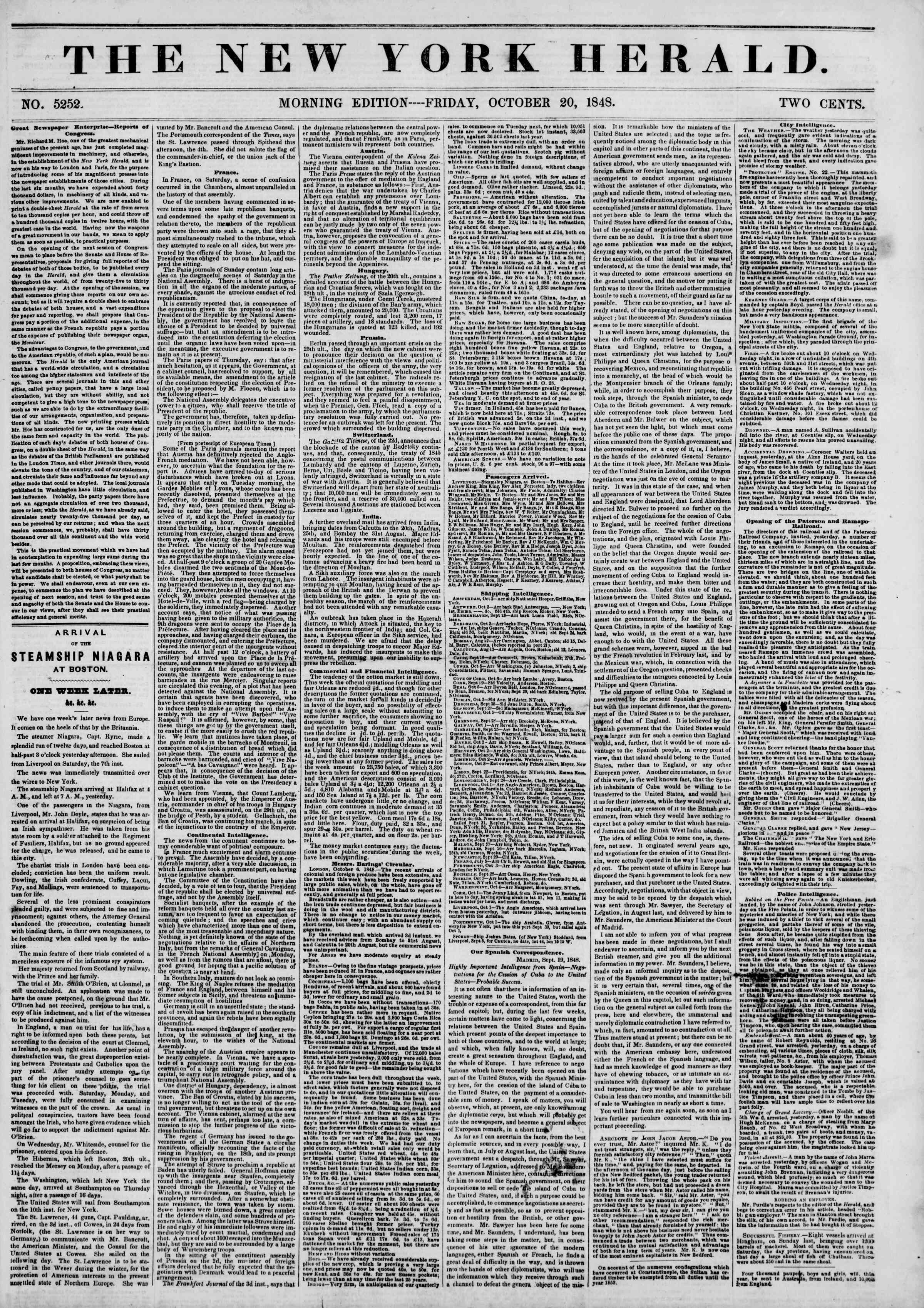 Newspaper of The New York Herald dated October 20, 1848 Page 1
