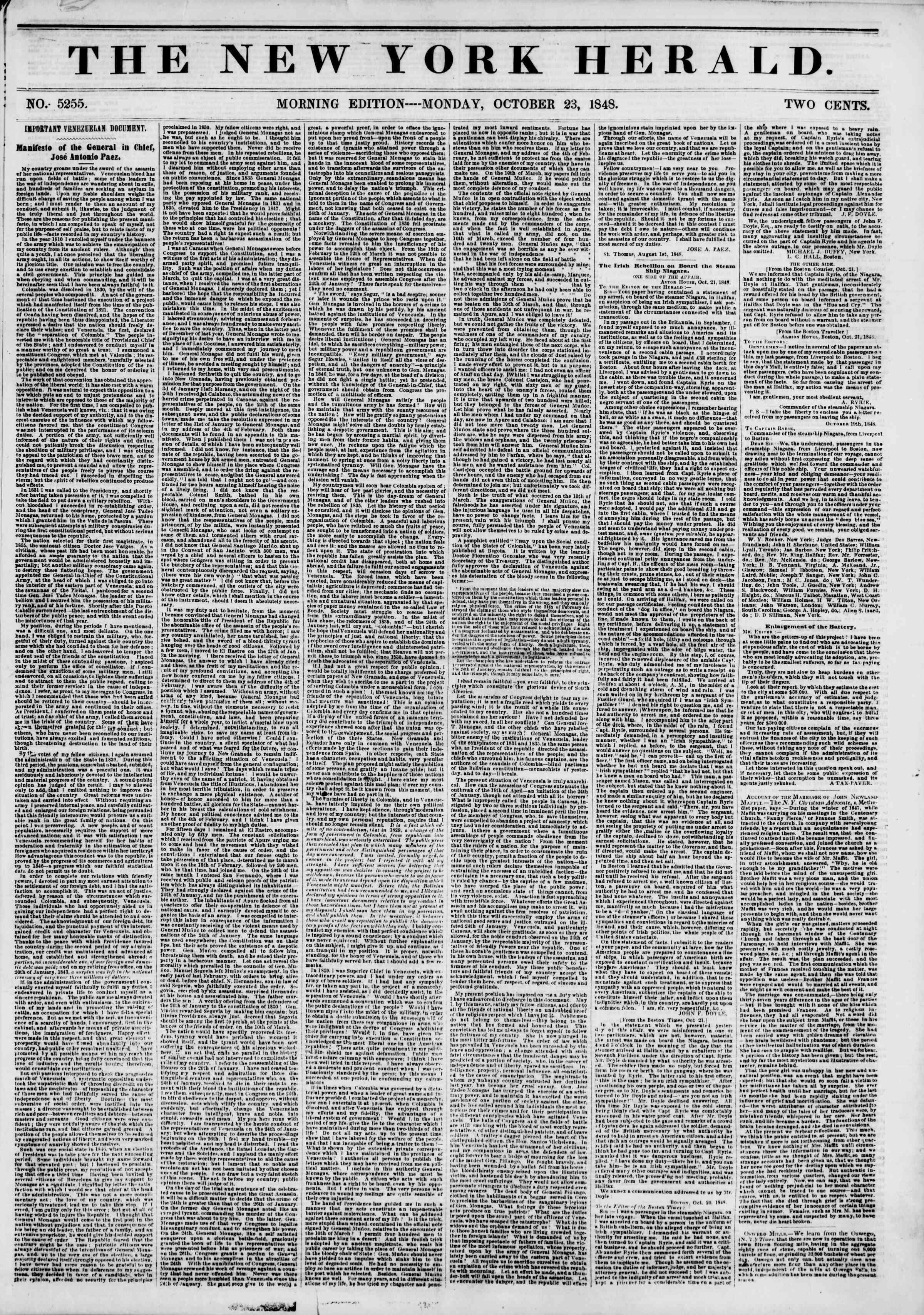 October 23, 1848 tarihli The New York Herald Gazetesi Sayfa 1