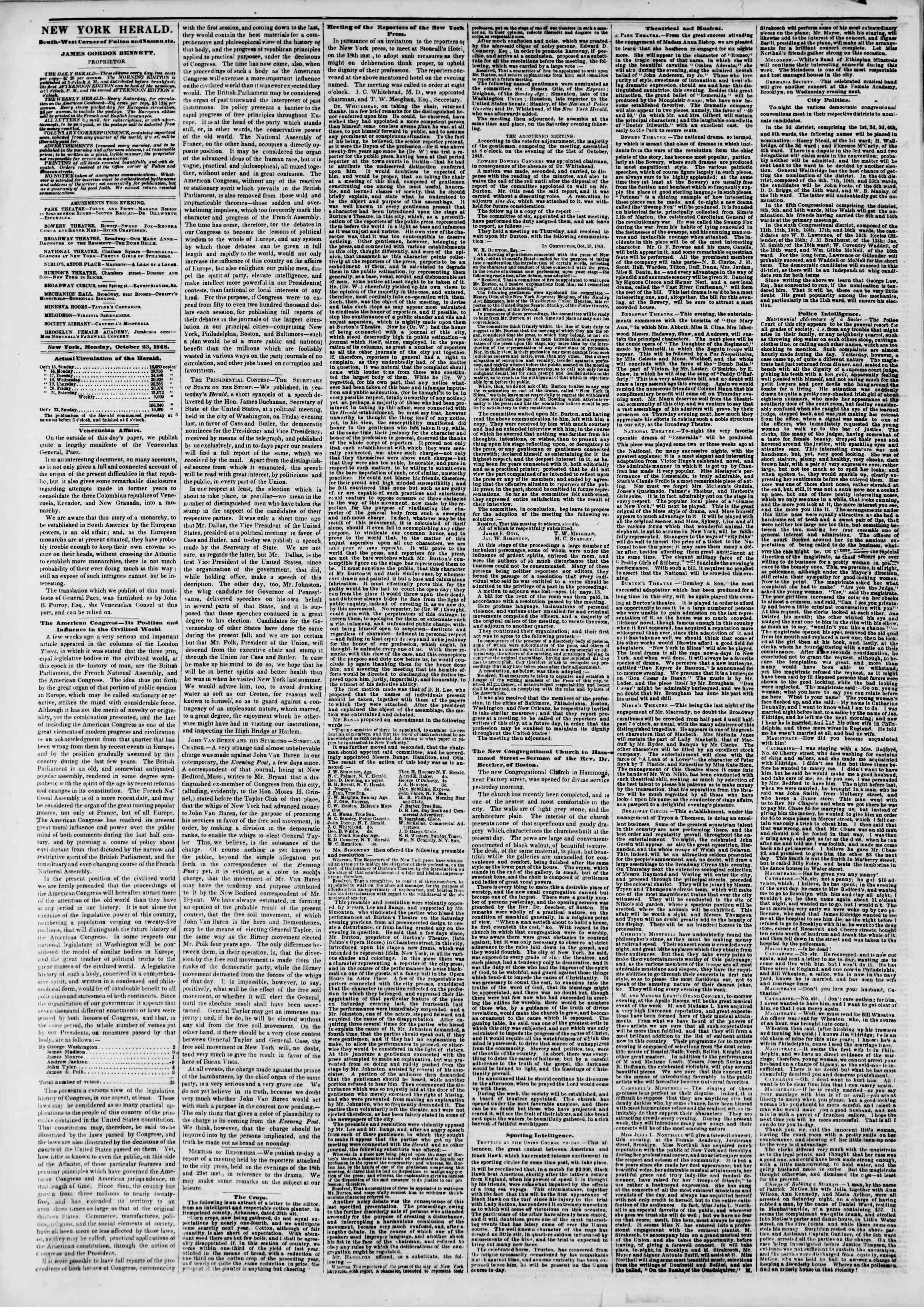 Newspaper of The New York Herald dated October 23, 1848 Page 2