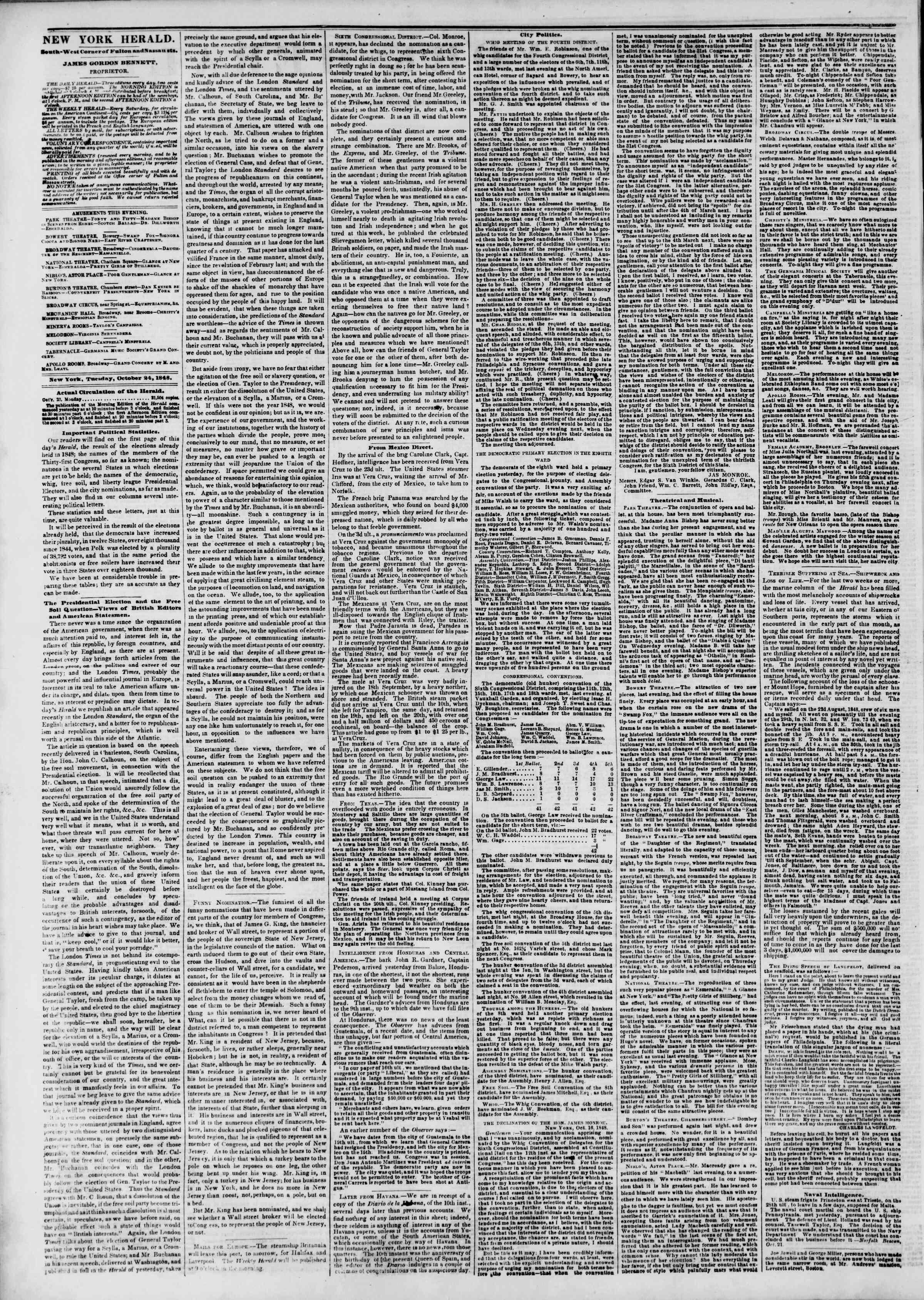 24 Ekim 1848 tarihli The New York Herald Gazetesi Sayfa 2