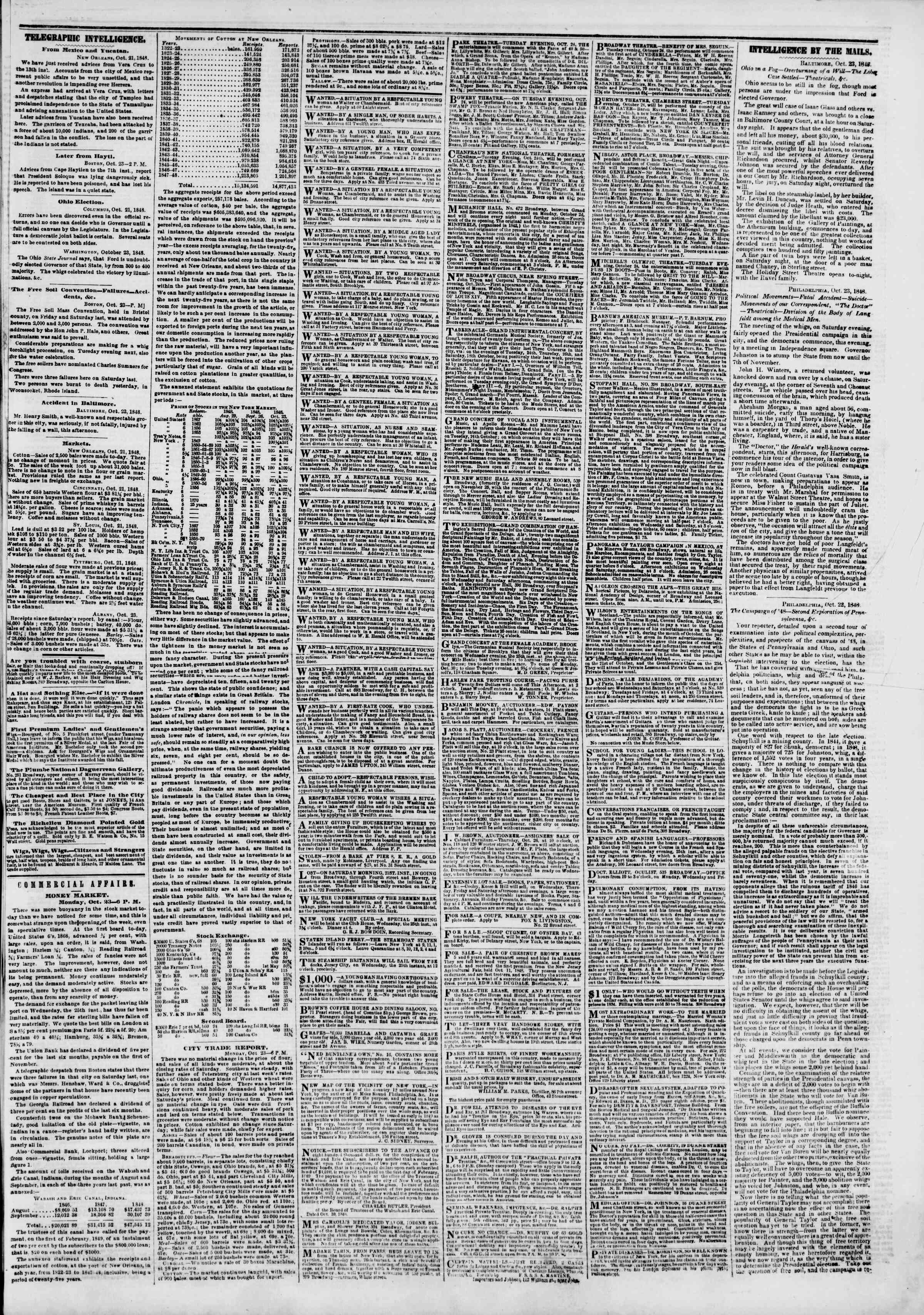 Newspaper of The New York Herald dated October 24, 1848 Page 3