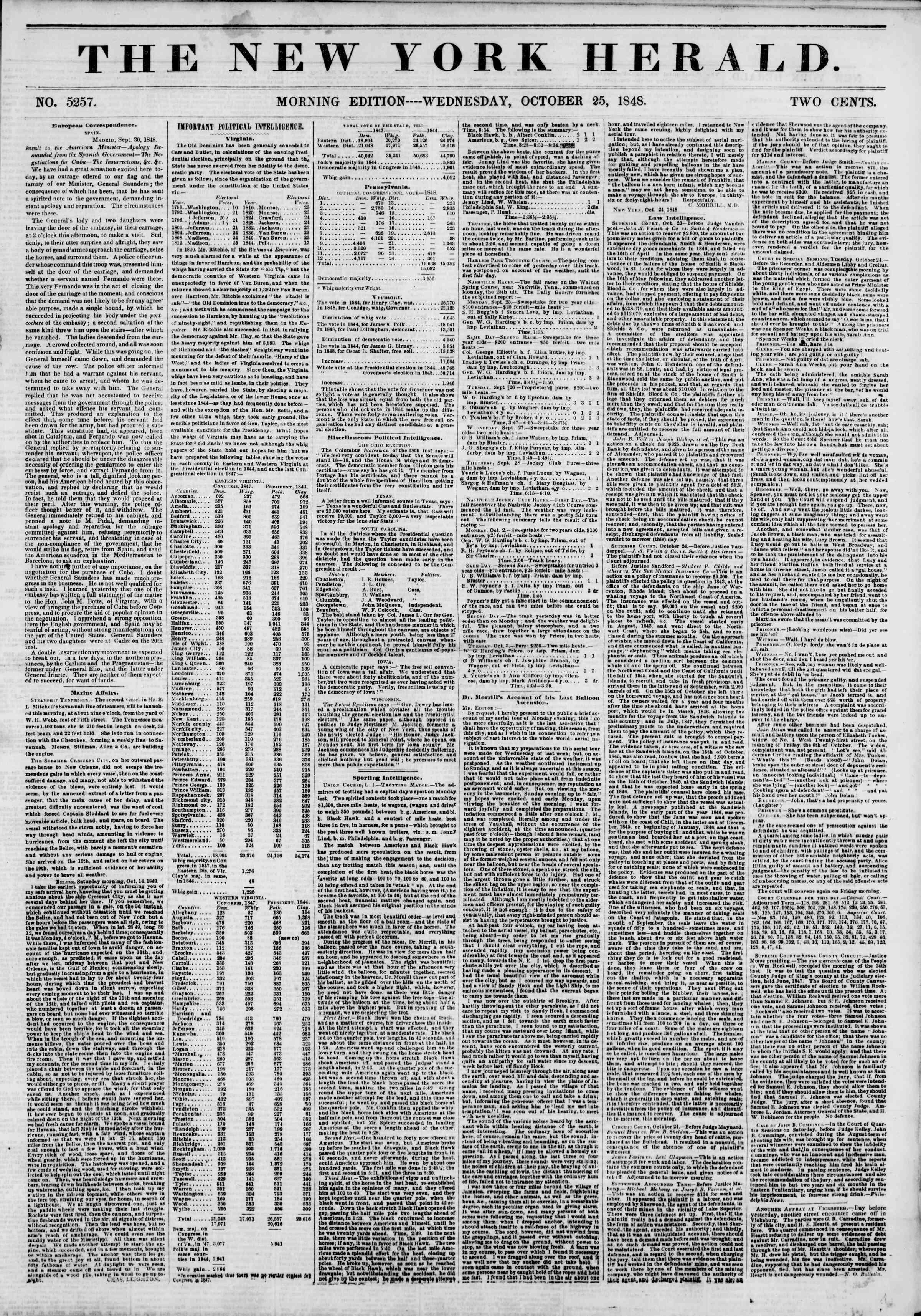 25 Ekim 1848 tarihli The New York Herald Gazetesi Sayfa 1