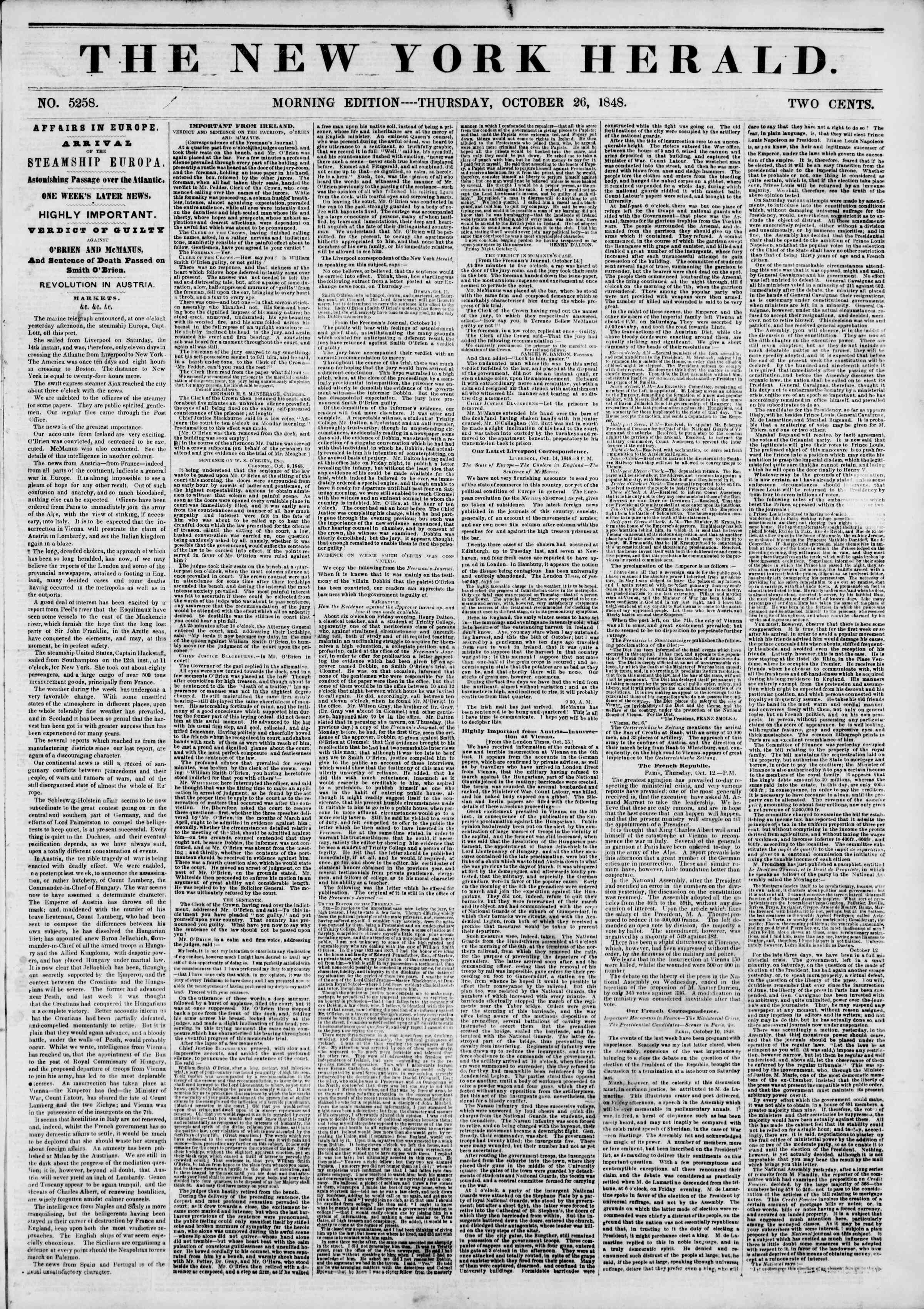 Newspaper of The New York Herald dated October 26, 1848 Page 1