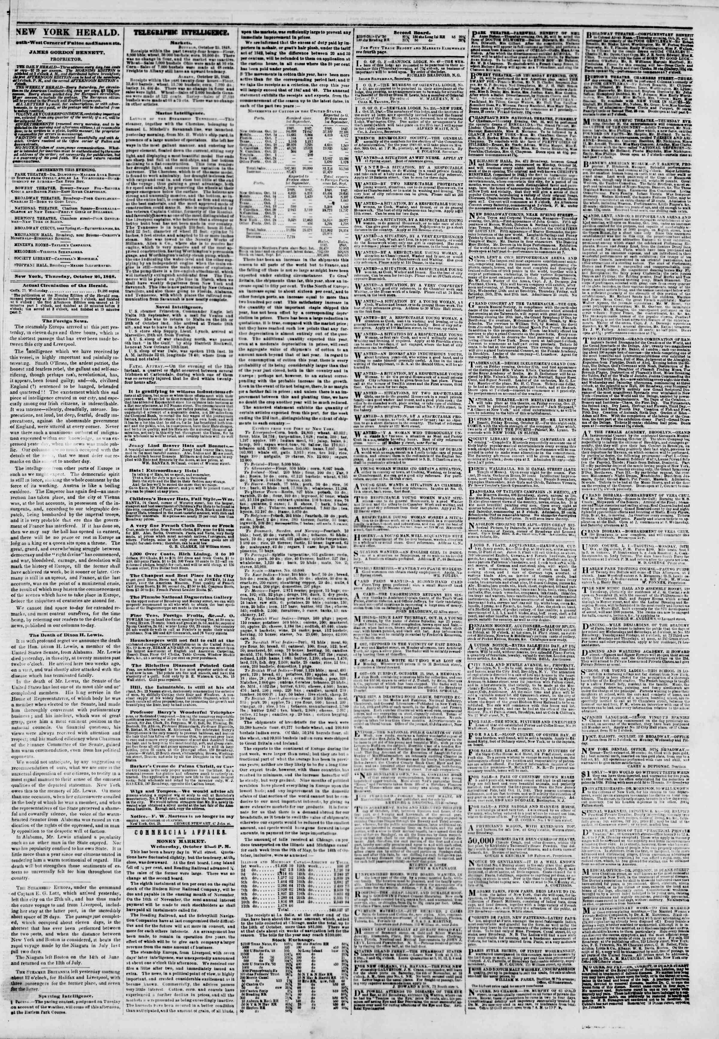 Newspaper of The New York Herald dated October 26, 1848 Page 3