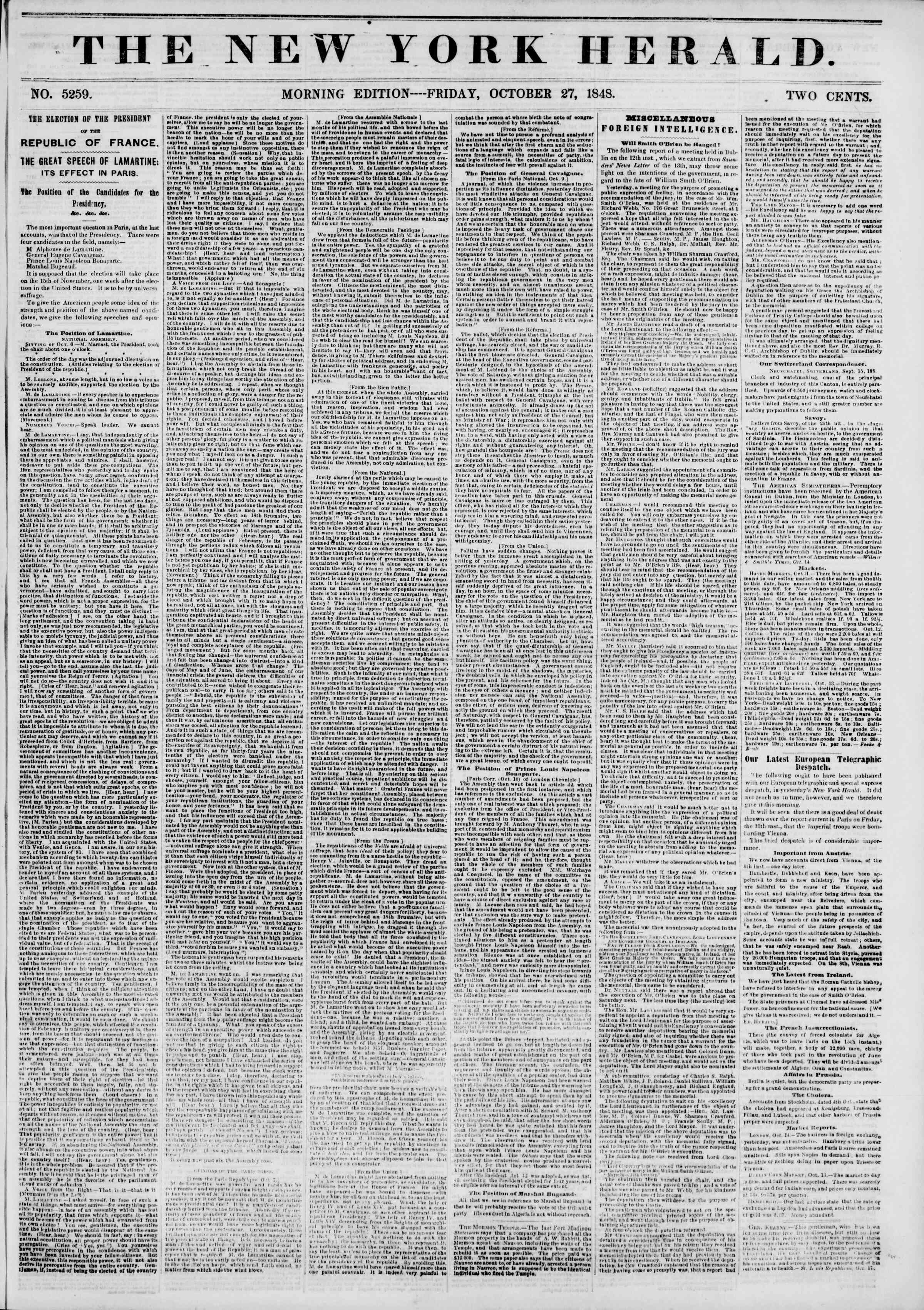 Newspaper of The New York Herald dated October 27, 1848 Page 1