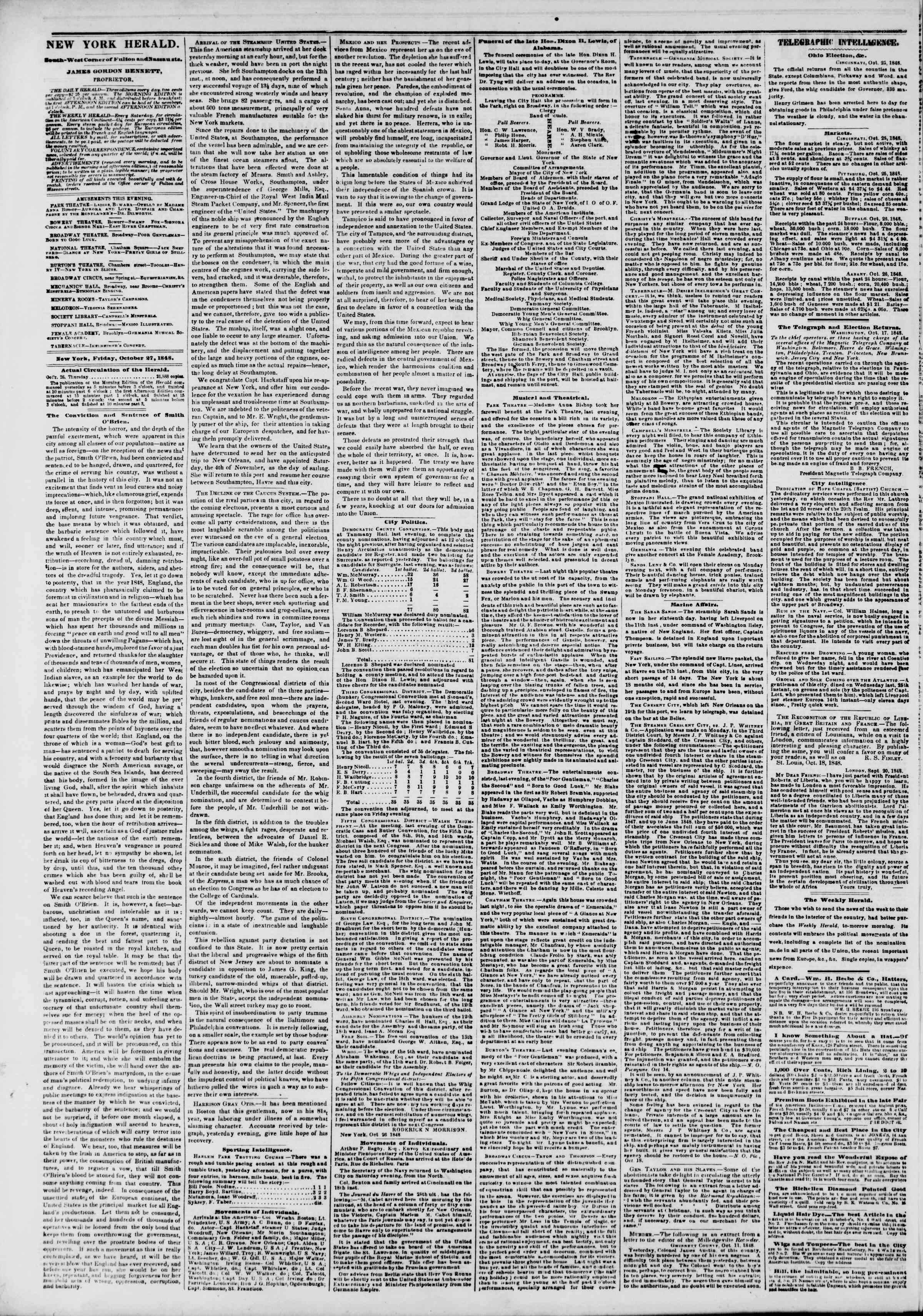 Newspaper of The New York Herald dated October 27, 1848 Page 2