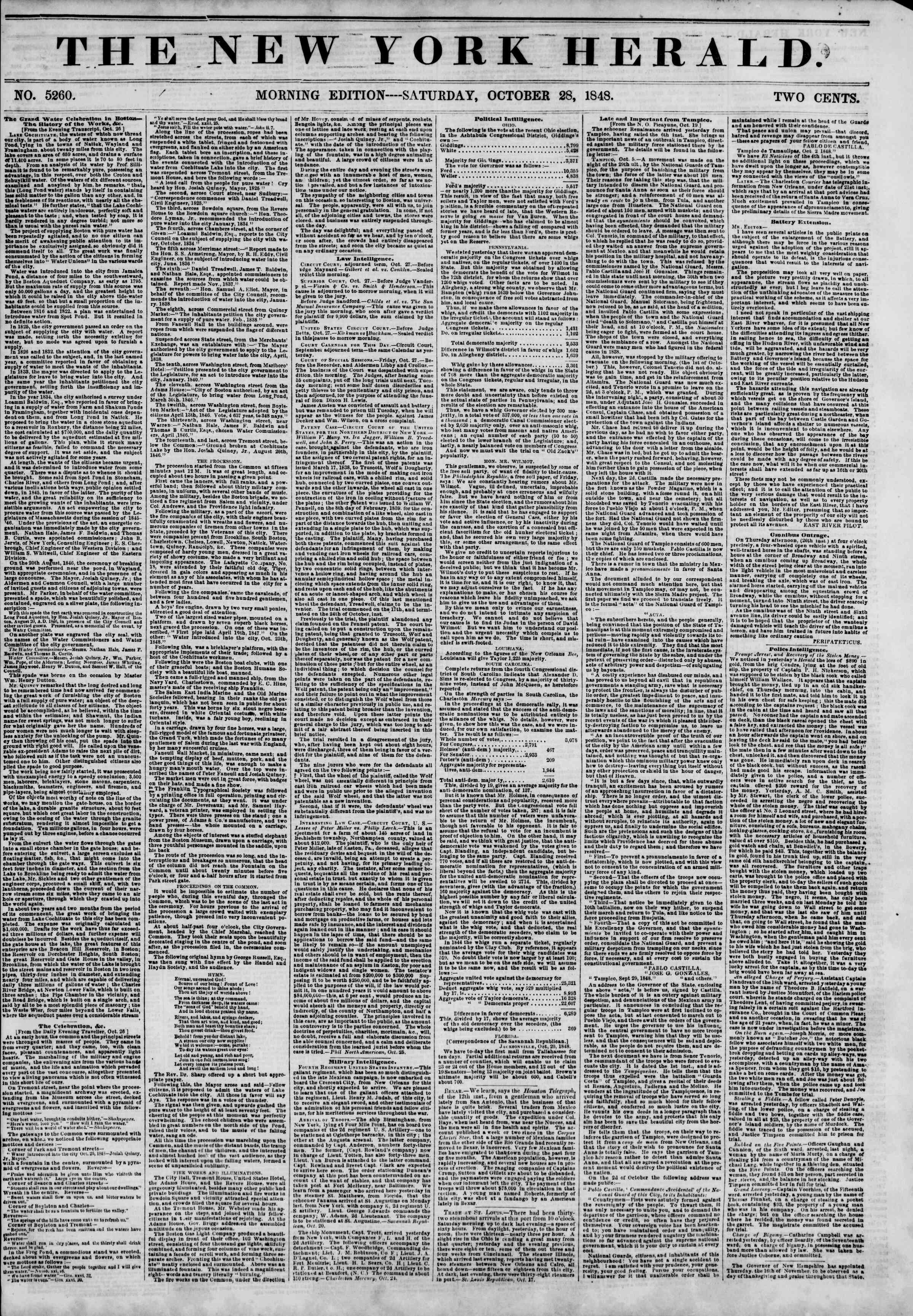 Newspaper of The New York Herald dated October 28, 1848 Page 1