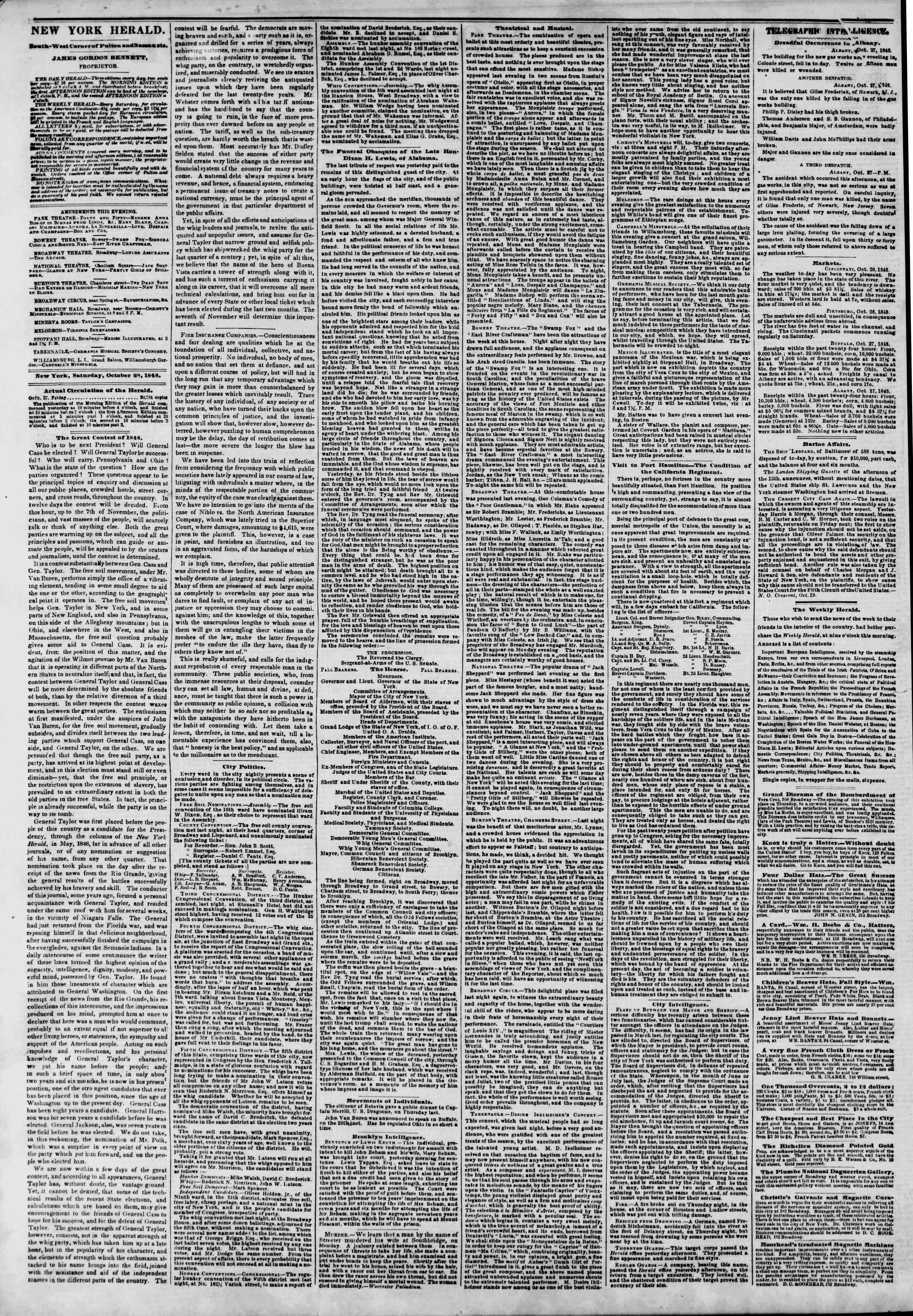 Newspaper of The New York Herald dated October 28, 1848 Page 2