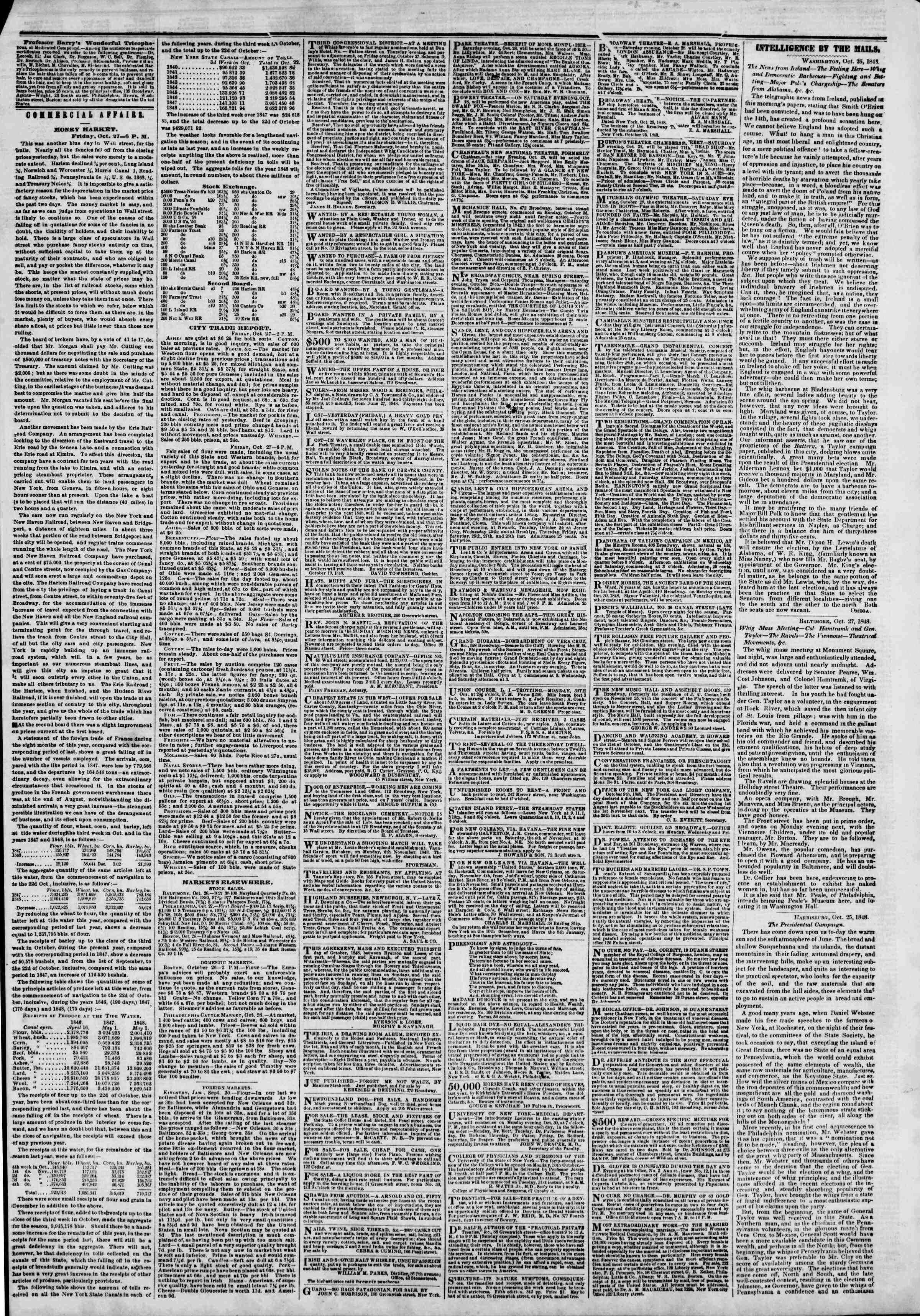 Newspaper of The New York Herald dated October 28, 1848 Page 3