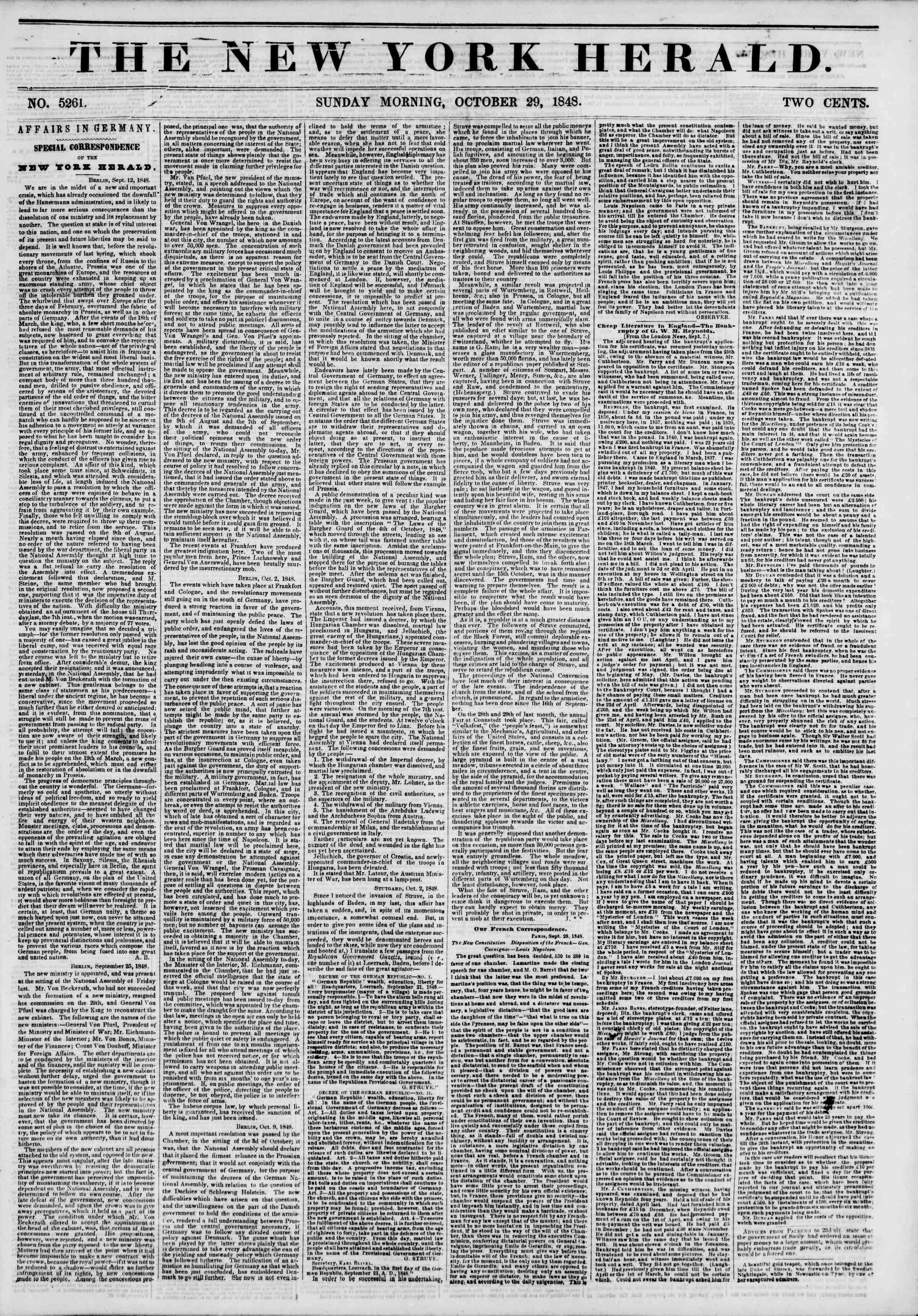Newspaper of The New York Herald dated October 29, 1848 Page 1