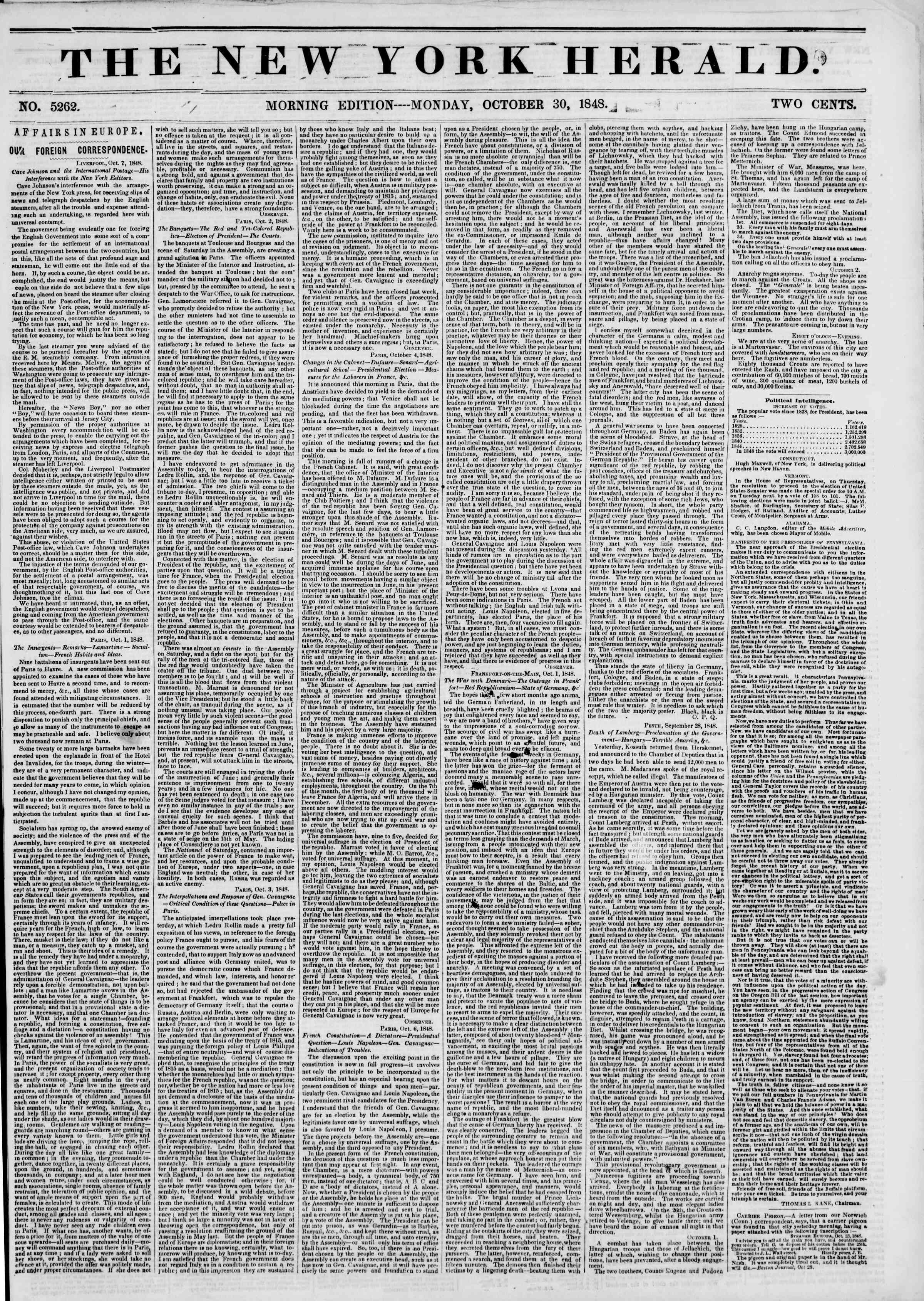 Newspaper of The New York Herald dated October 30, 1848 Page 1